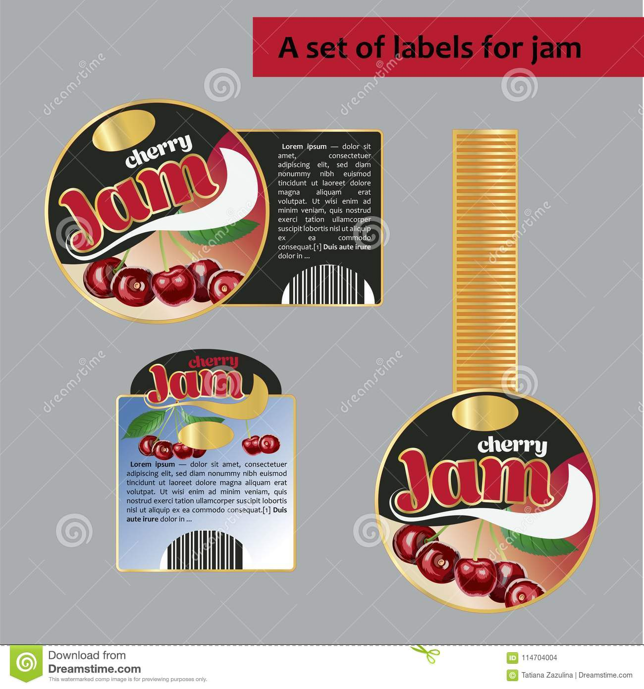 A set of labels for cherry jam. Isolated image.
