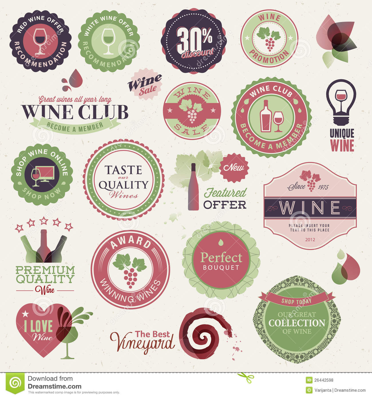 Set of labels and elements for wine