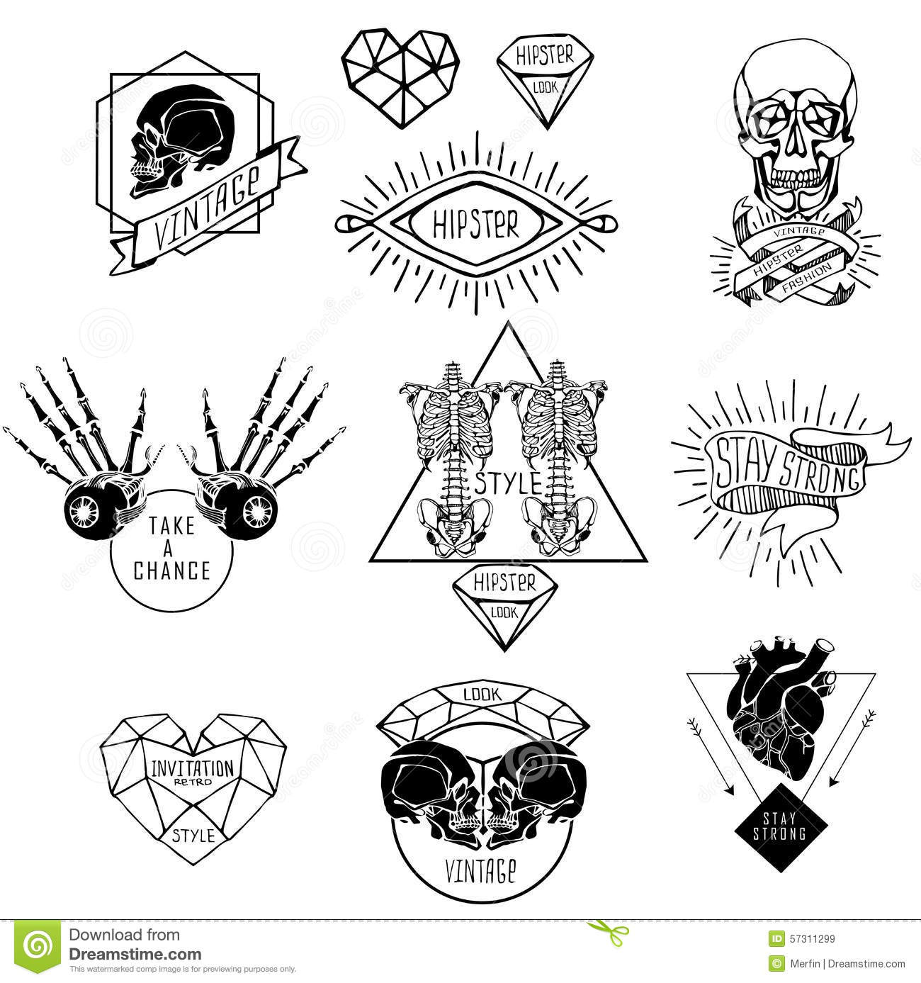 Set Of Labels With Human Stock Vector Illustration Of Hipster