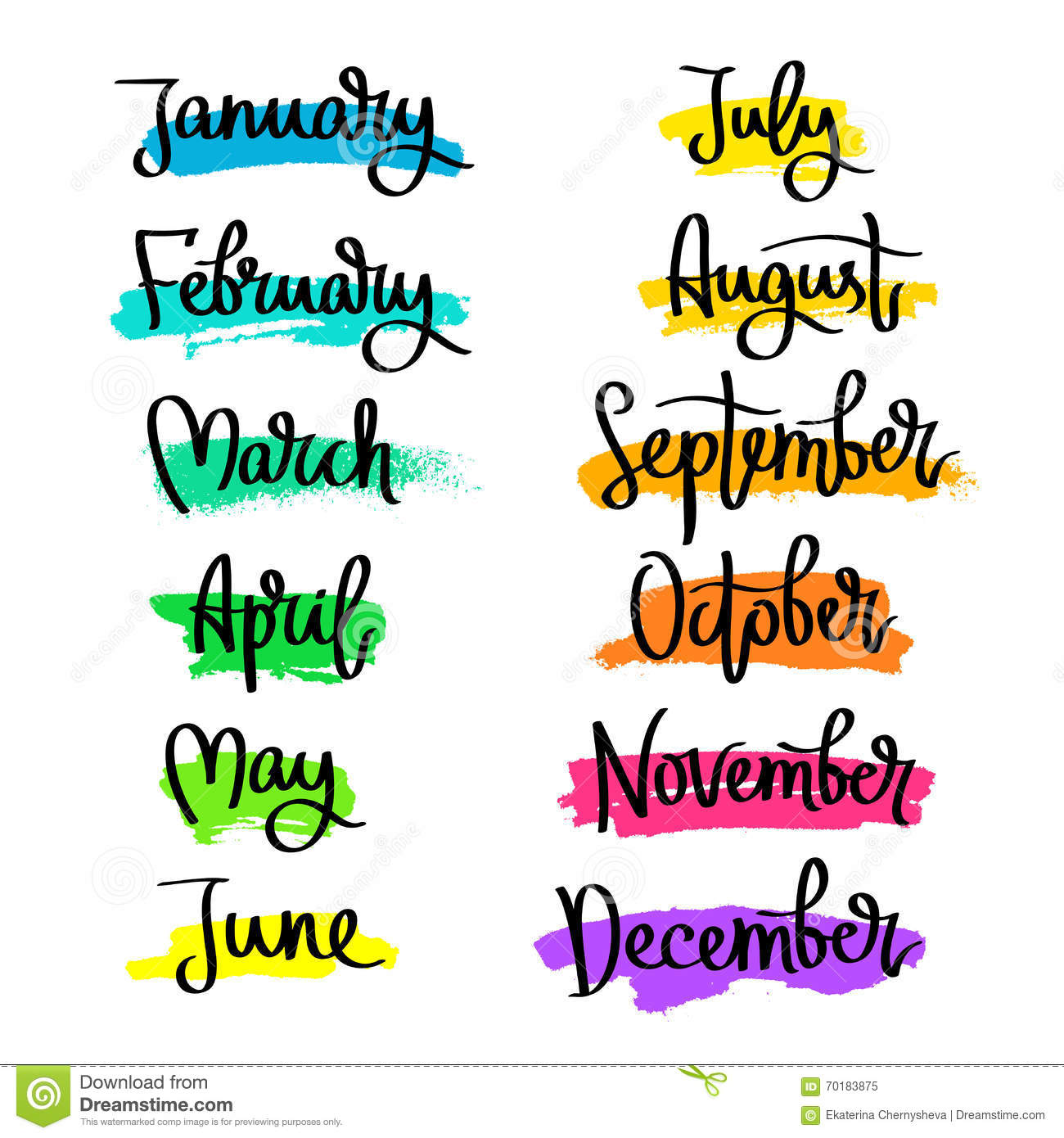 of the months of the year. Fashionable calligraphy. January, February ...