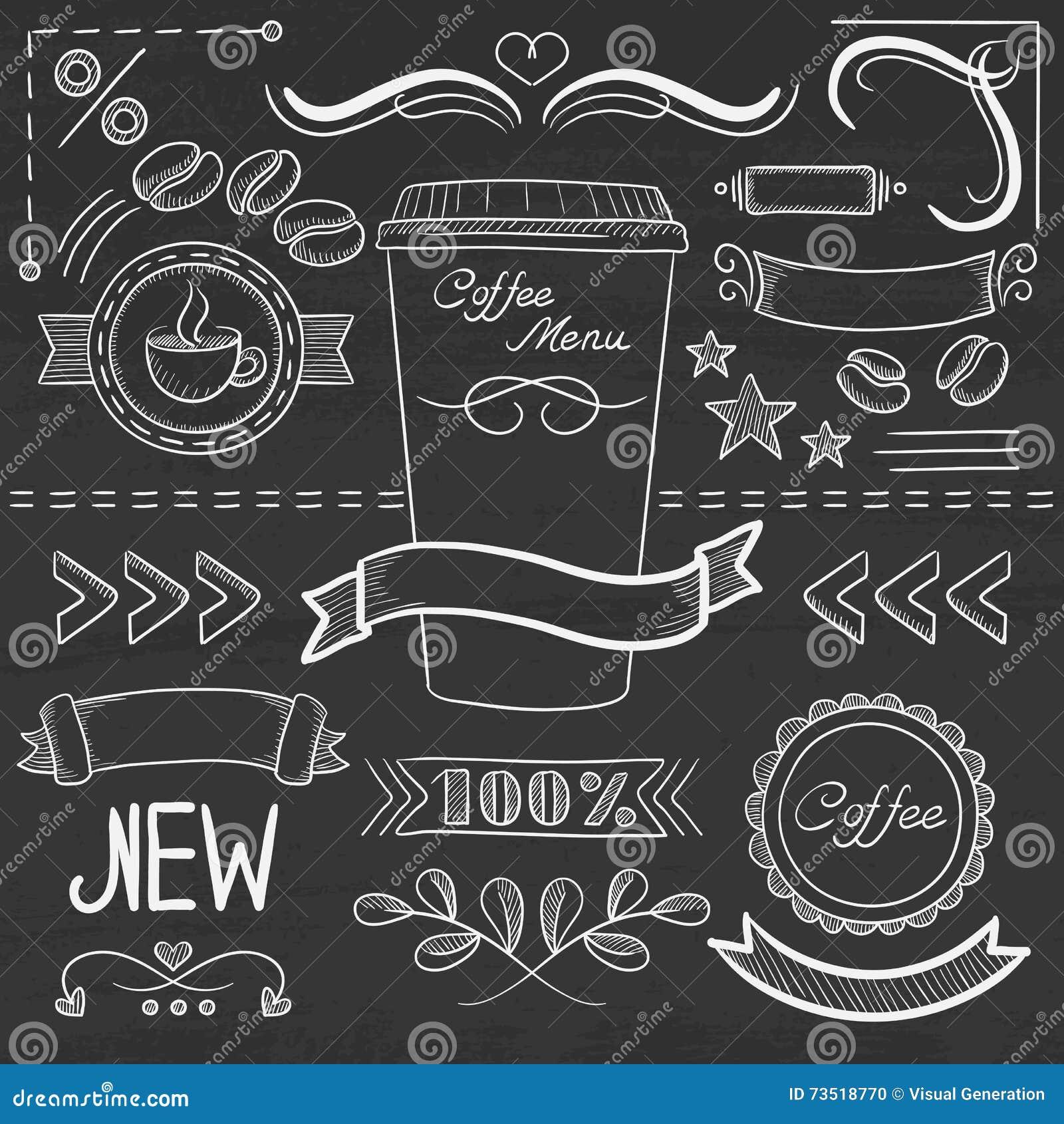 Set Of Vintage Chalk Frames And Labels. Hand Drawn Vector