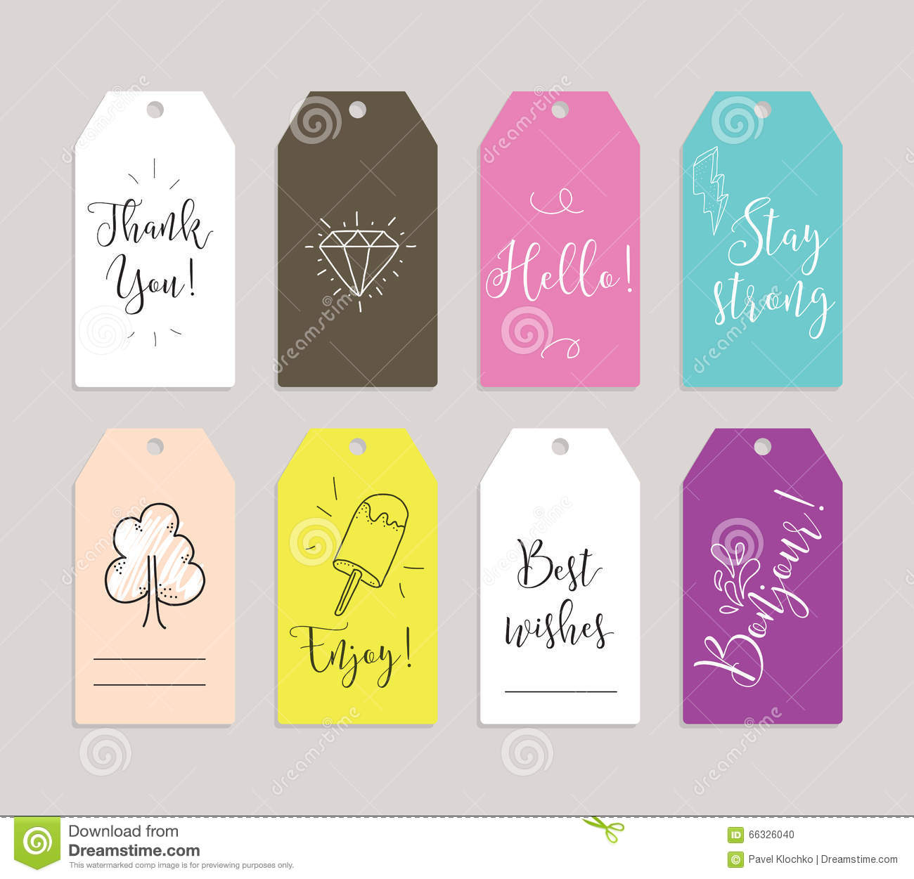 Set of labels, stickers or tags. Cards for journaling. Inspirational quotes. Usable as invitations, greetings, planner