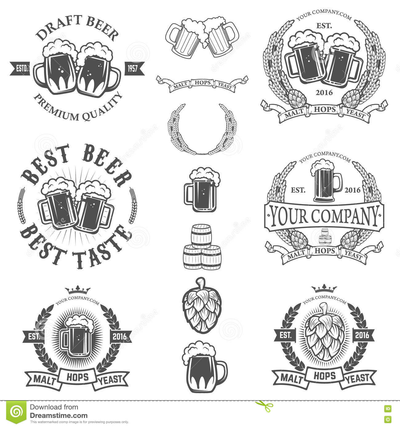 z label templates - set of labels templates with beer mug isolated on white