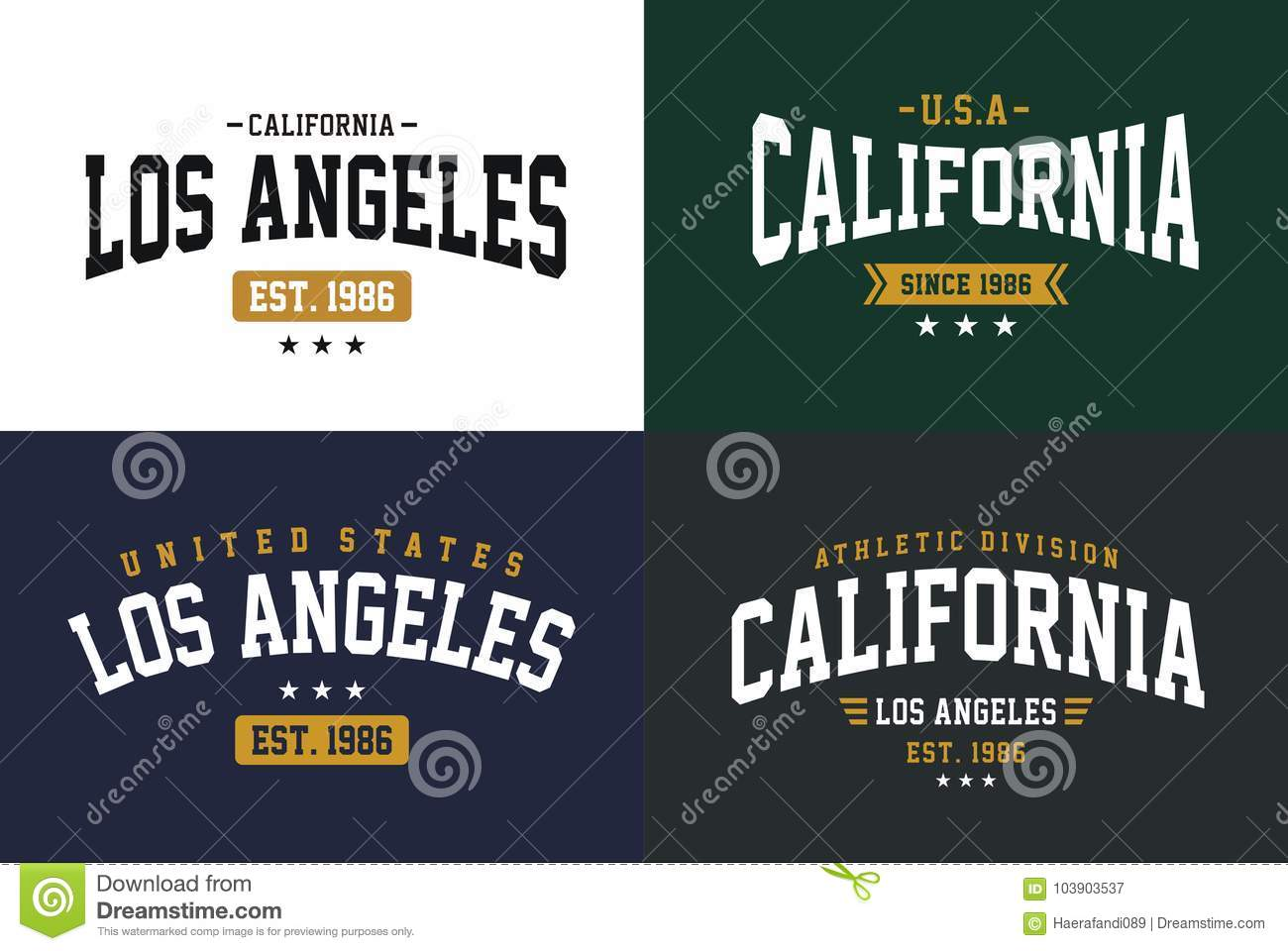 2bc6e40e3 Set labels varsity style, Los Angeles California athletic sport typography  for t shirt print