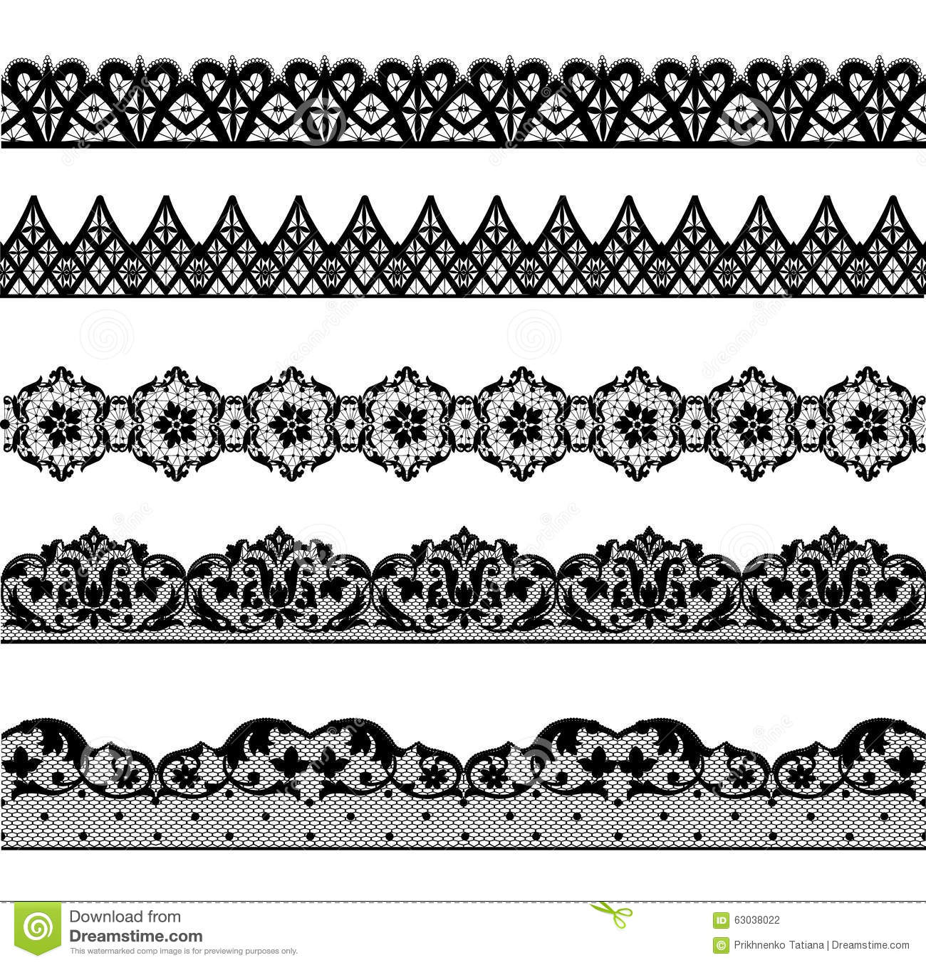 Set Lace Borders Stock Vector Illustration Of Vector 63038022
