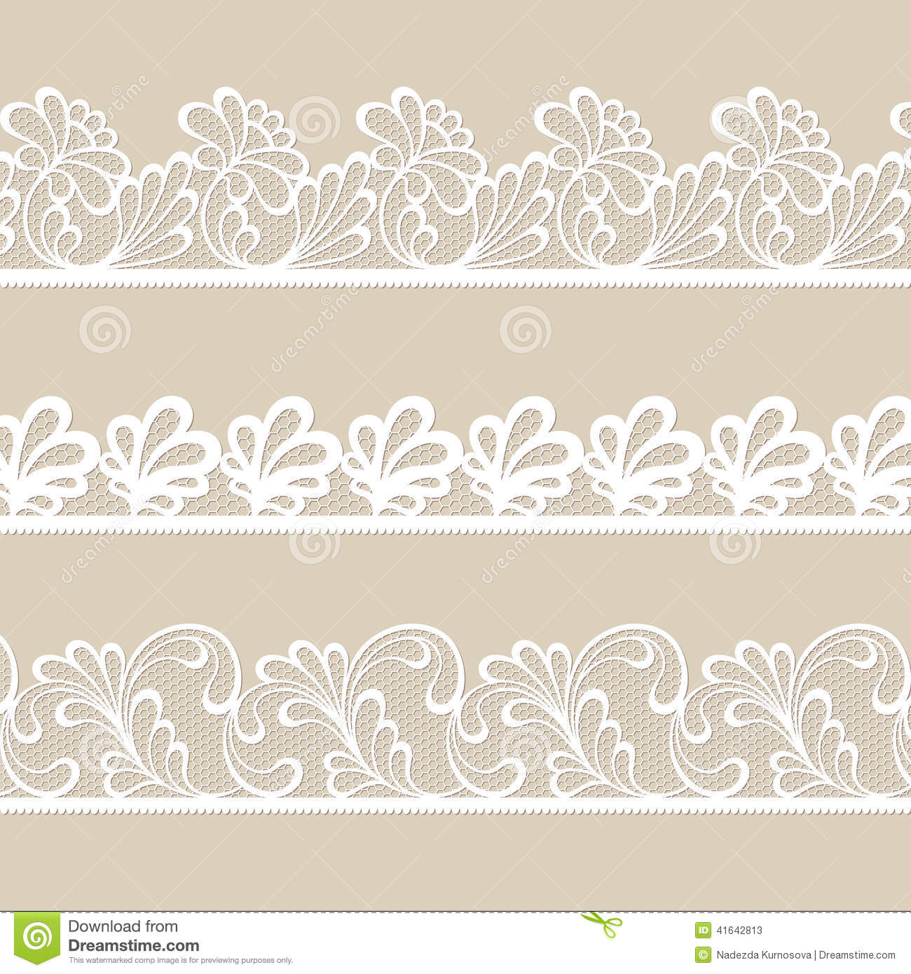 Set Of Lace Vector Borders Stock Vector Image 41642813
