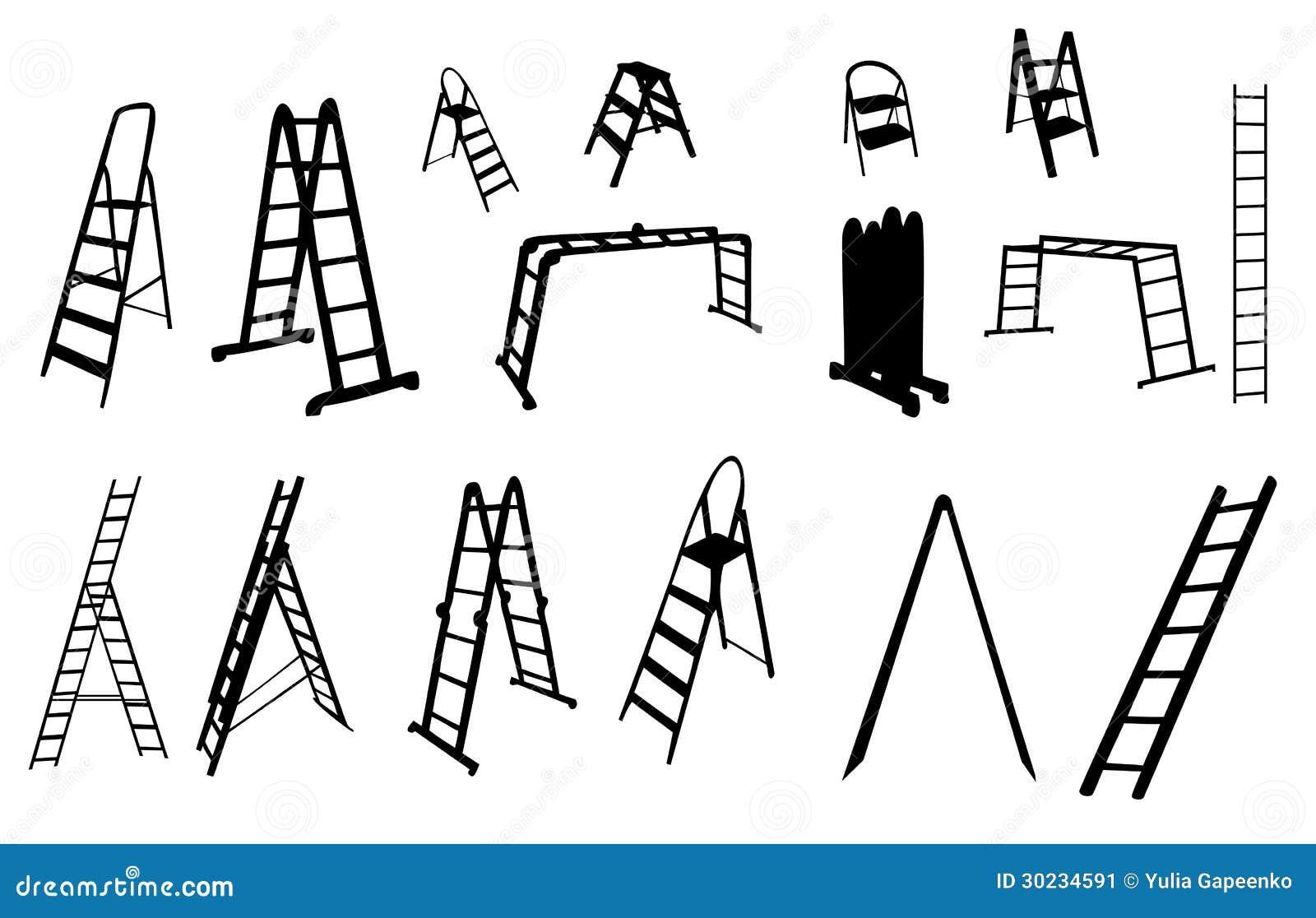 Set Of Ladder Silhouette Vector Illustration Stock
