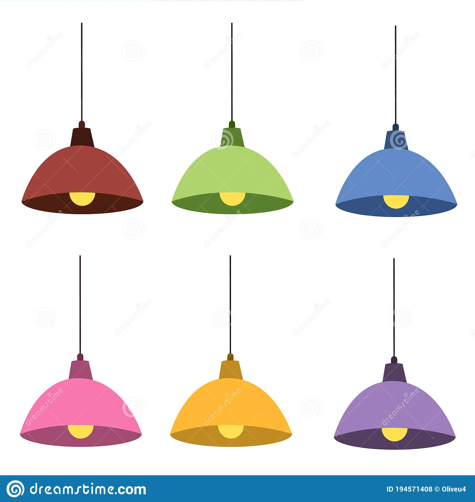 A Set Of Lamps On A White Background Stock Vector Illustration Of Lamp Light 194571408