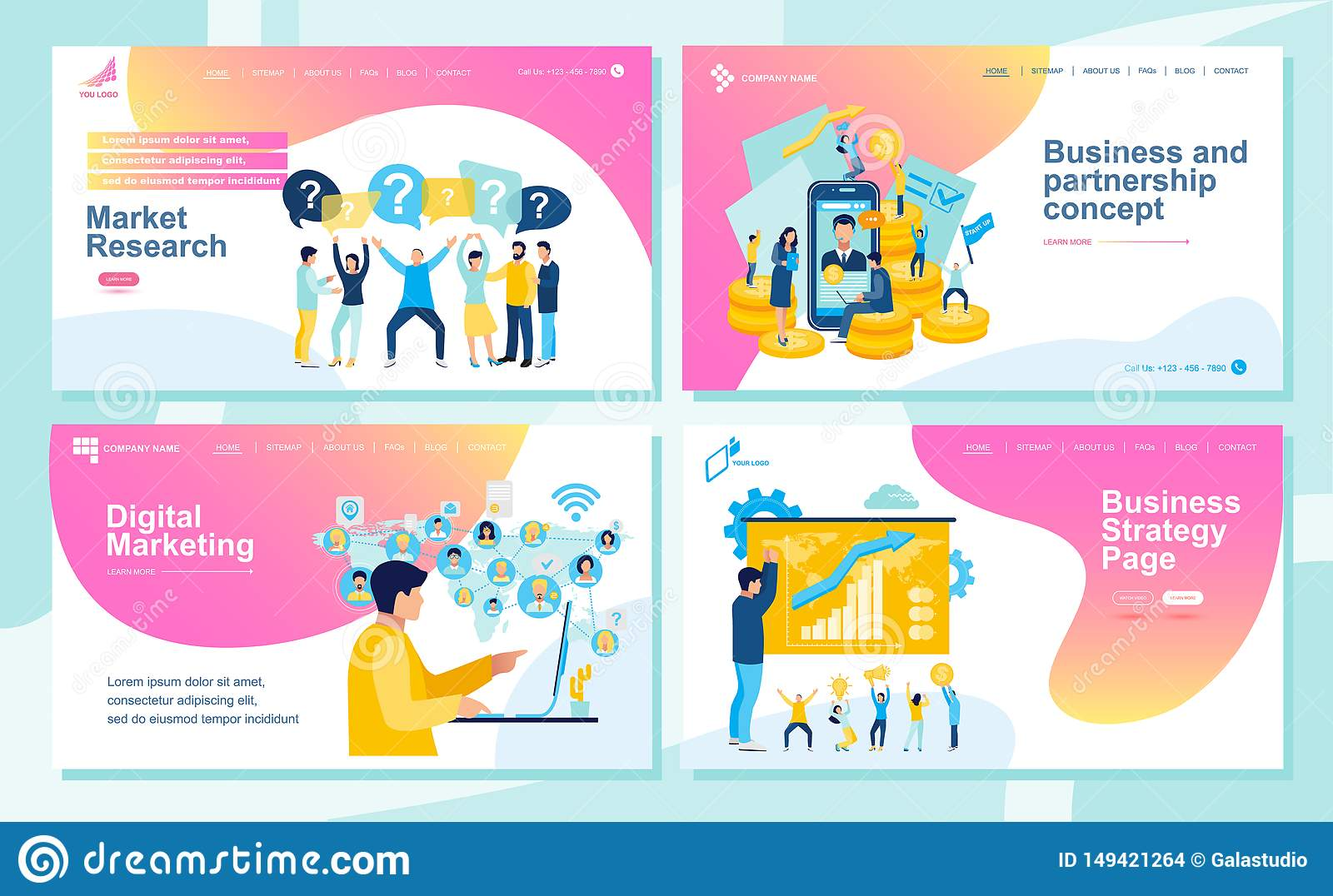 Set Of Landing Page Design Templates For Seo Web Design Ui Development And Digital Marketing Business And Partnership Concept Stock Photo Image Of Course Design 149421264