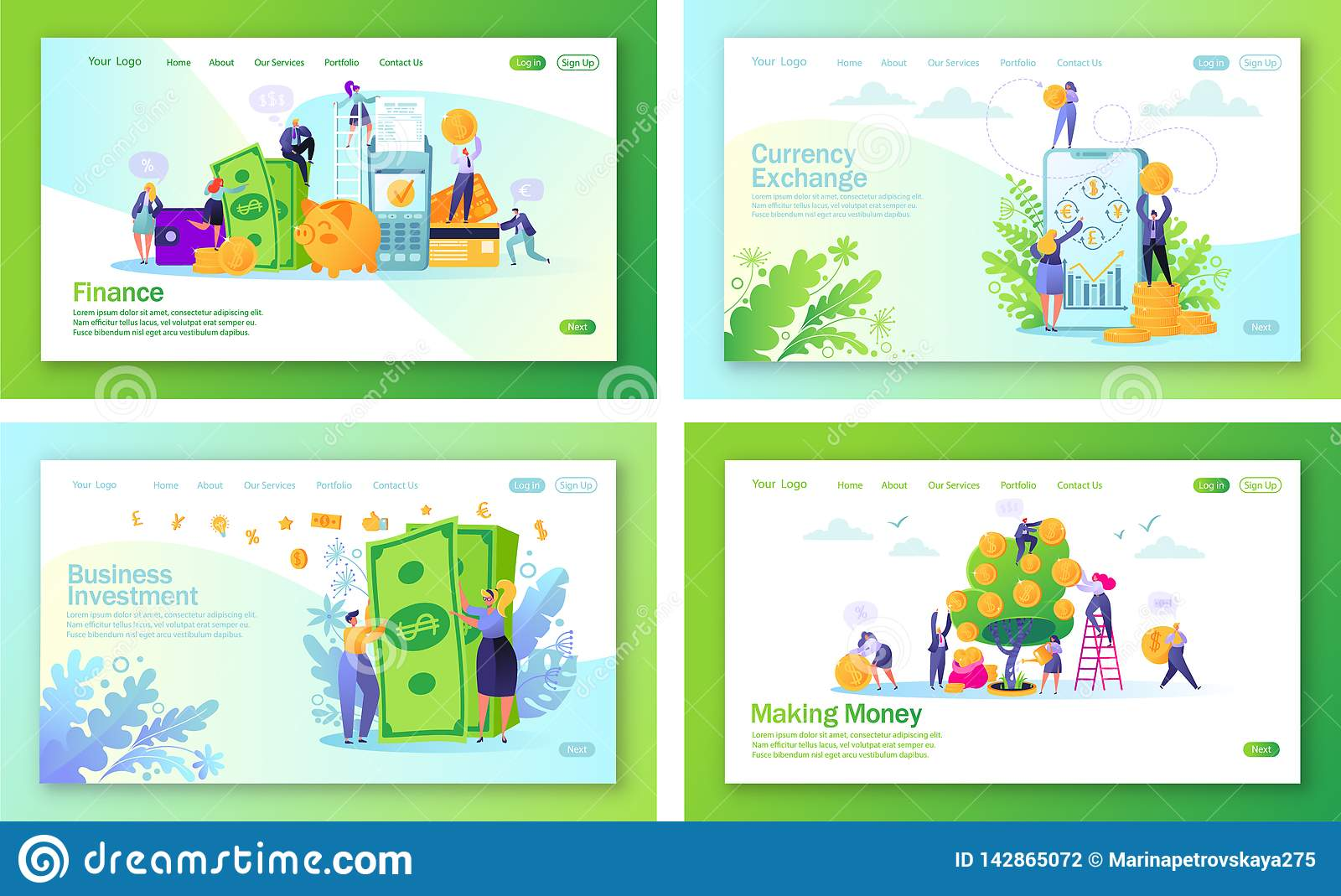 Set of concept of landing pages on finance theme.