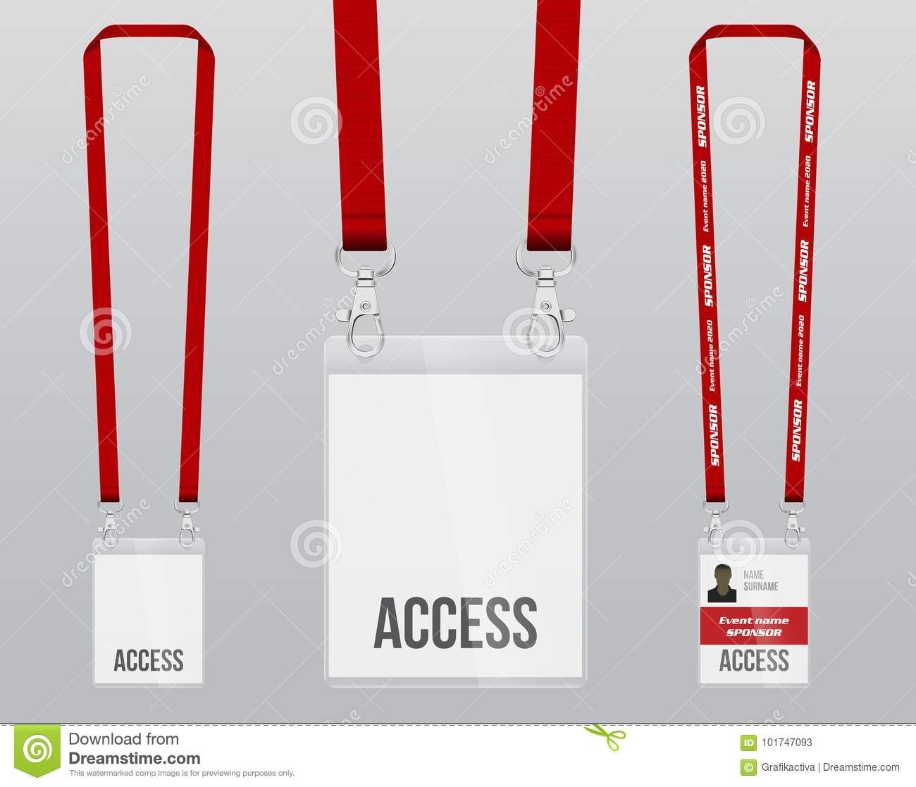 Set Of Lanyard And Badge Double Closing Piece Of Metal Plastic