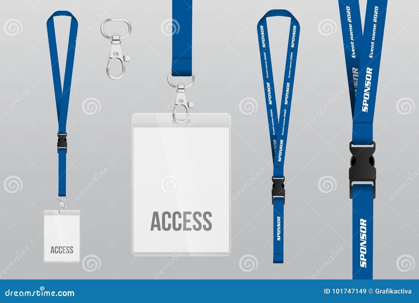 Set Of Lanyard And Badge Metal Piece Plastic Template