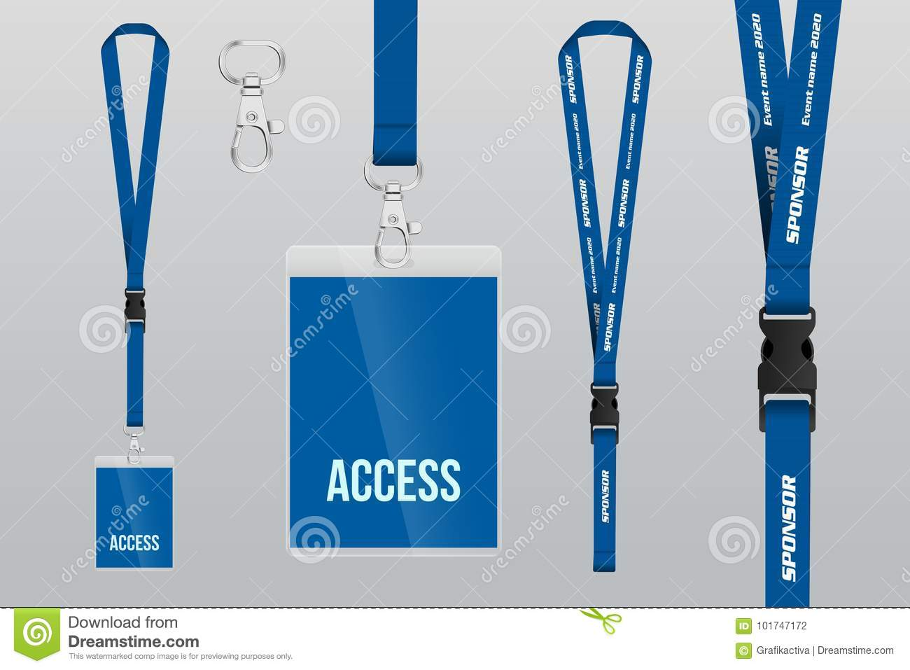 Set Of Lanyard And Badge Metal Piece Plastic Badge Template F