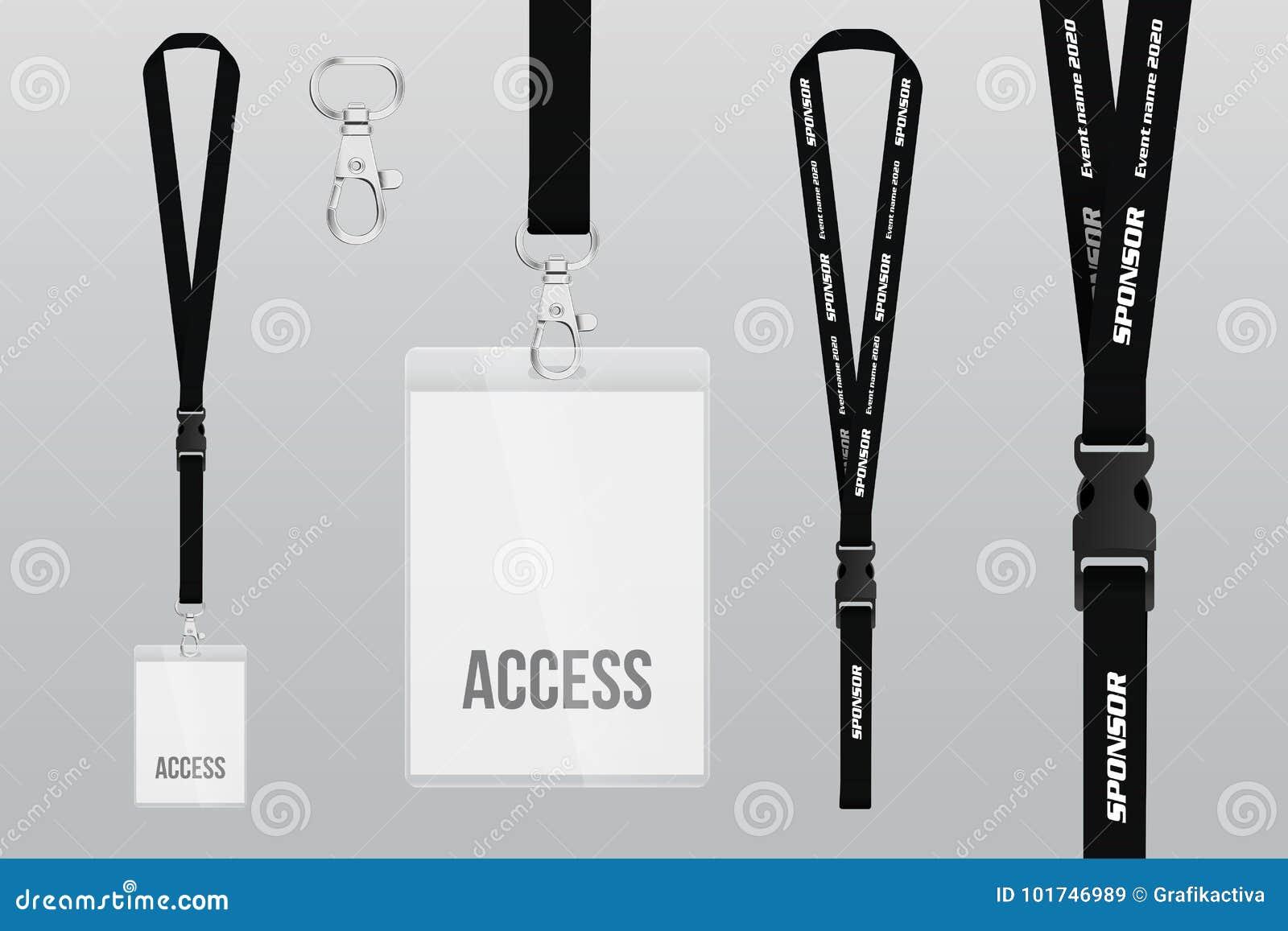 Set Of Lanyard And Badge. Metal Piece. Plastic Badge. Template Stock ...