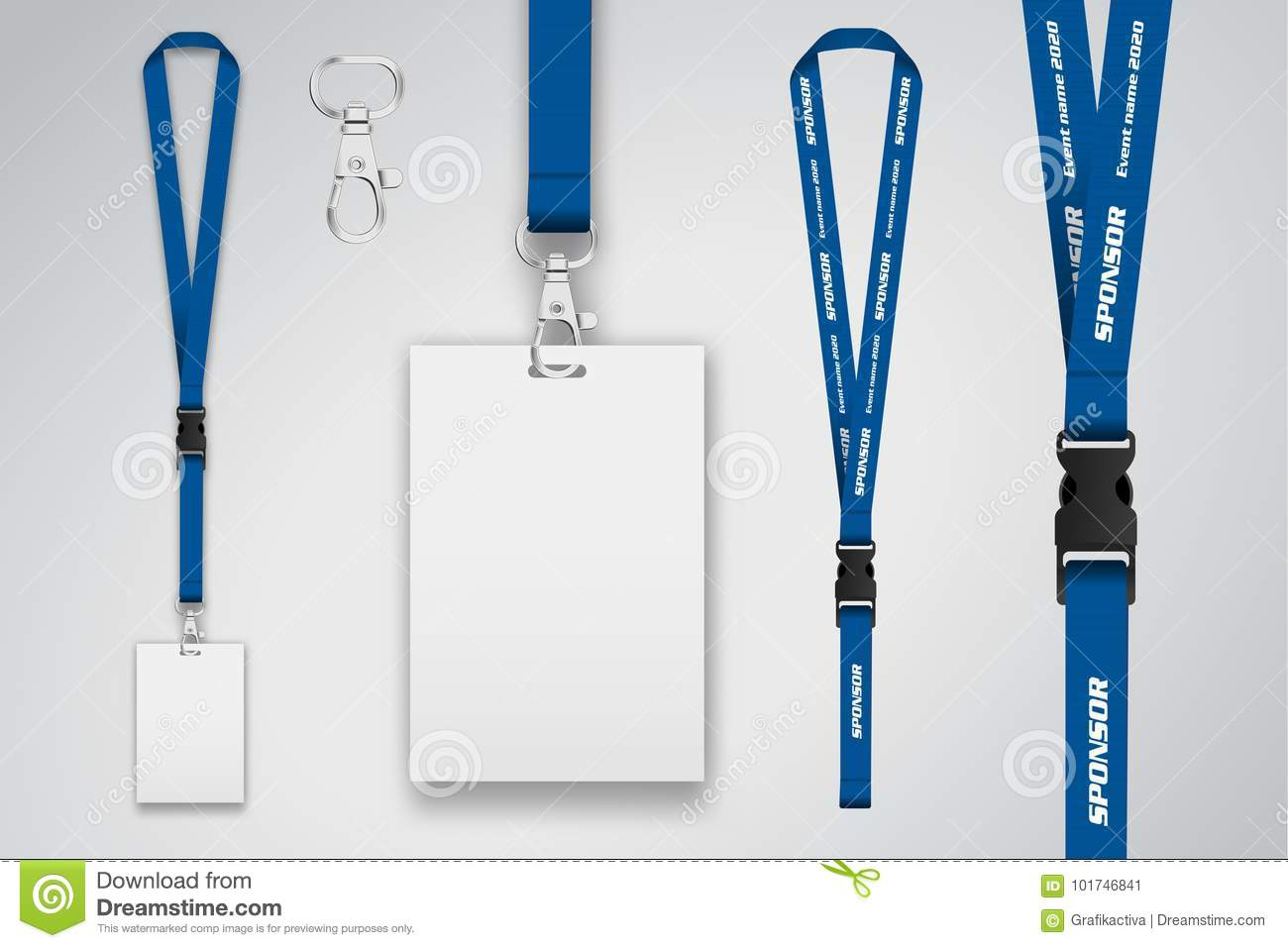 Set Of Lanyard And Badge Metal Piece Template For Presentation