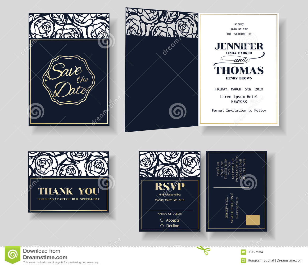 Set of laser cut wedding invitation card rose shape stock vector download set of laser cut wedding invitation card rose shape stock vector illustration stopboris Image collections