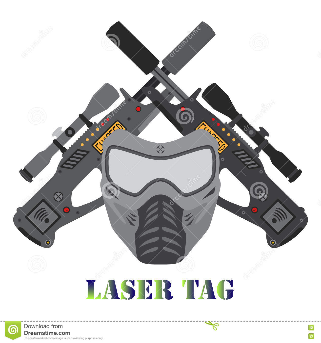 Set Of Laser Tag Game, Helmet, Guns In Flat Style. Stock Vector ...