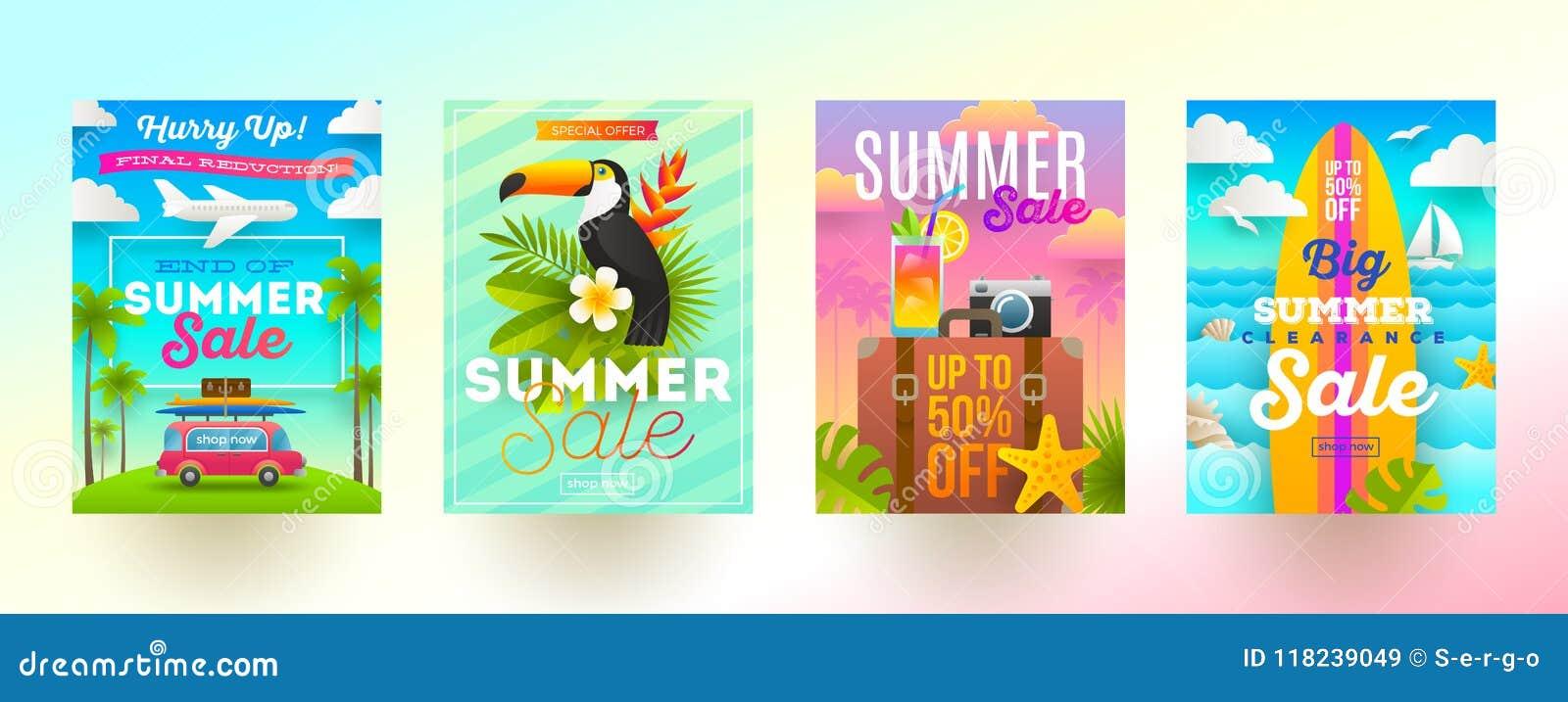 Set lato sprzedaży promoci sztandary Wakacje, wakacje i podróży kolorowy jaskrawy tło, Plakata lub gazetki projekt