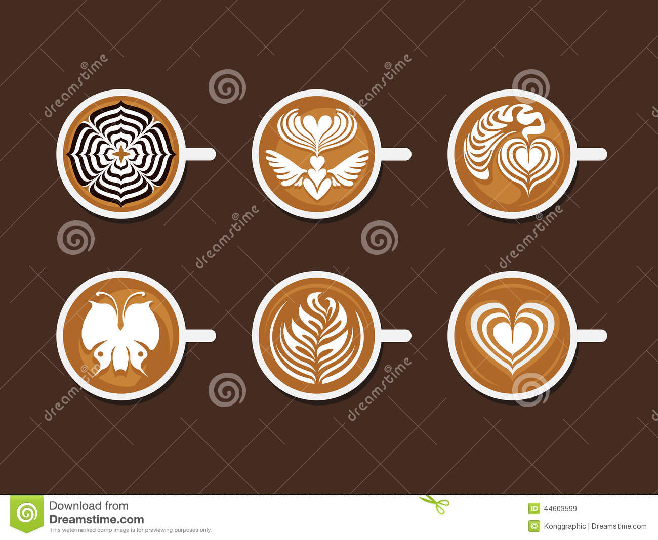 Set Latte Art White Cup Vector Illustration