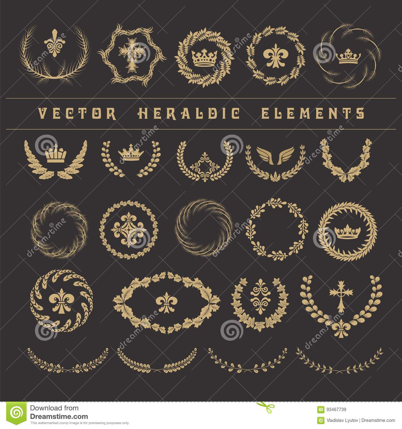 Set Laurel Wreath Symbol Of Victory And Achievement Vector He