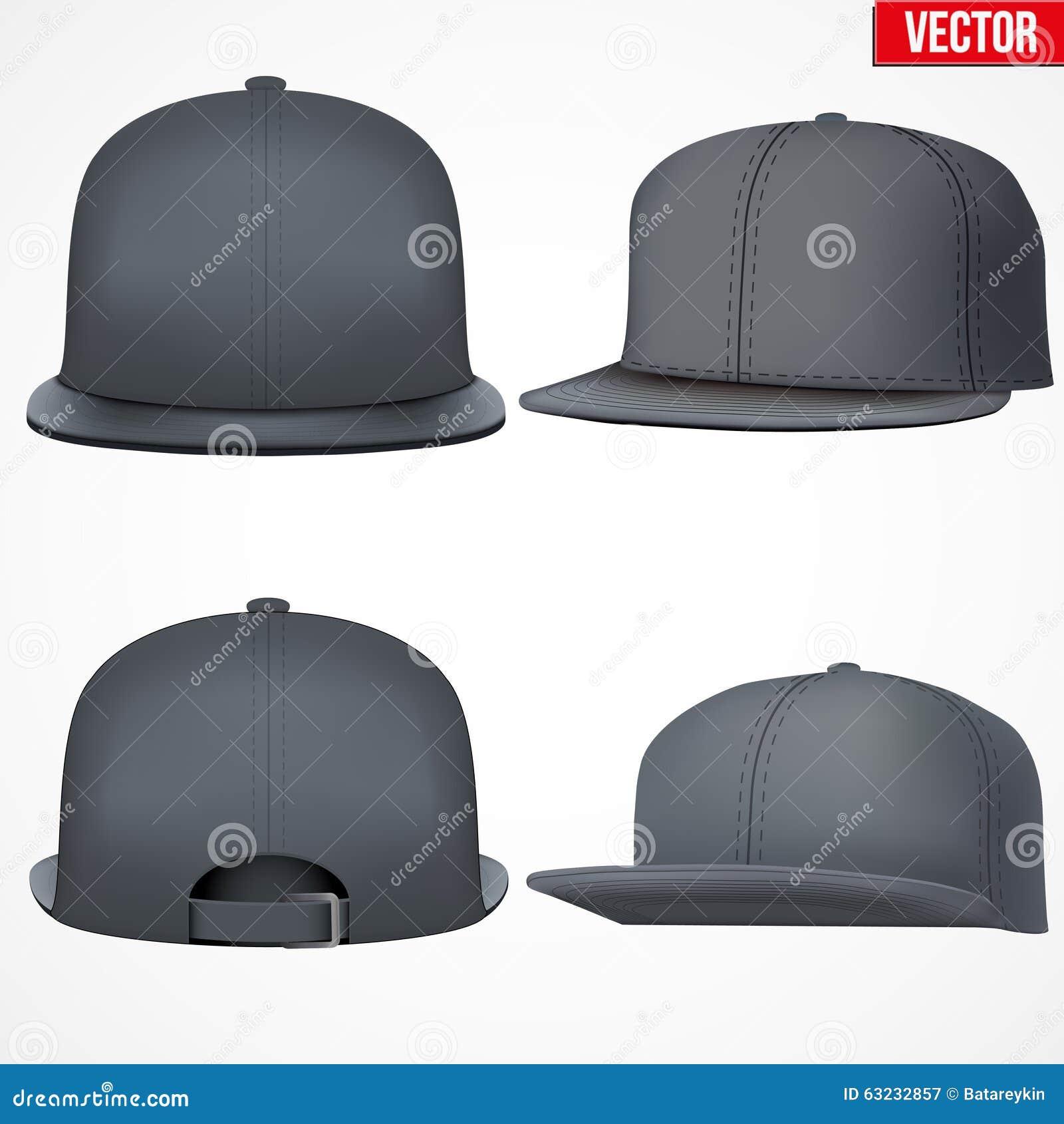 166900c3528 Set Layout Of Male Black Rap Cap Stock Vector - Illustration of brim ...