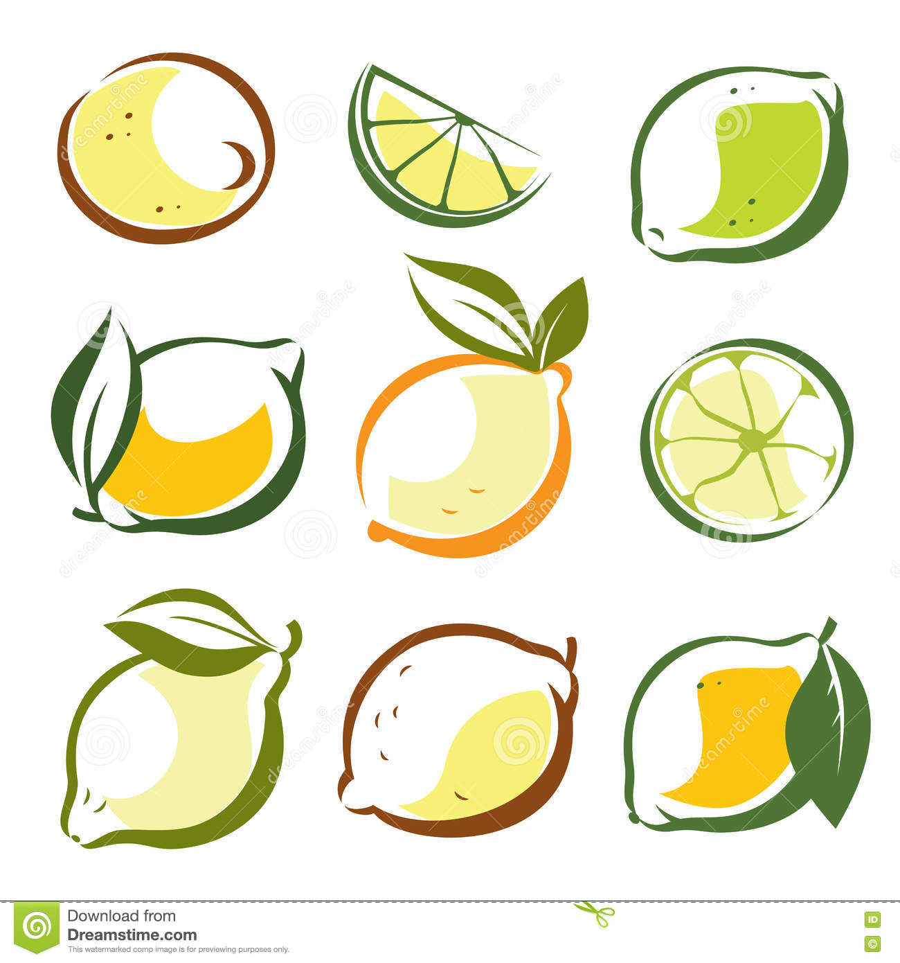 Set Of Lemons And Lime Vector Symbols Stock Vector Illustration Of