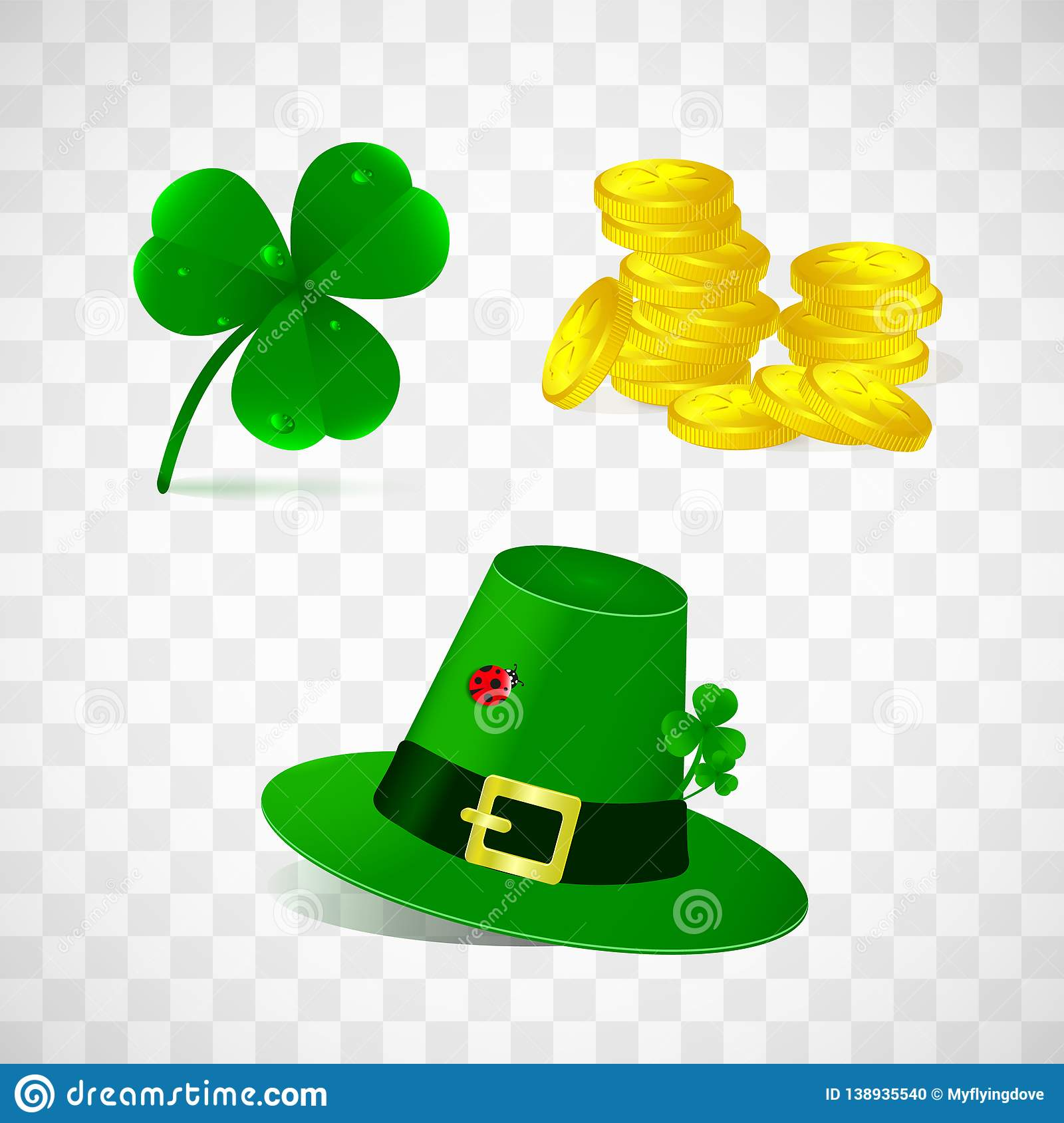 Set Of Leprechaun Hat Clover And Golden Coins Isolated On
