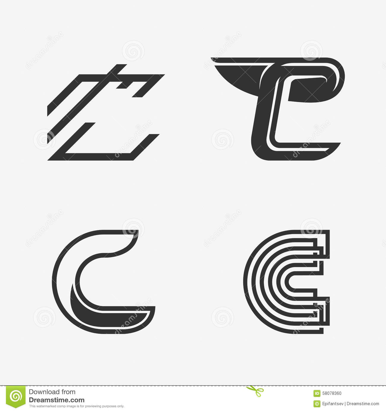 the set of letter c sign logo icon design template