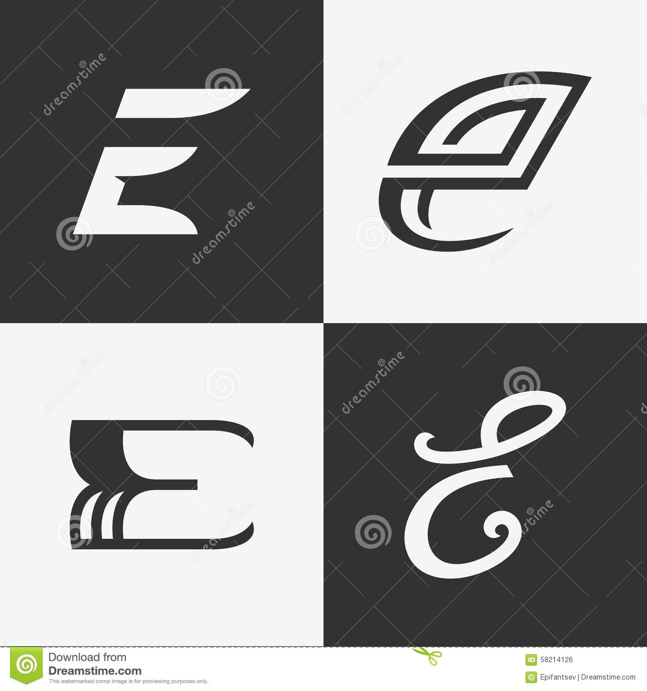 Minimal Logo Collection: The Set Of Letter E Sign, Logo , Icon Design Template