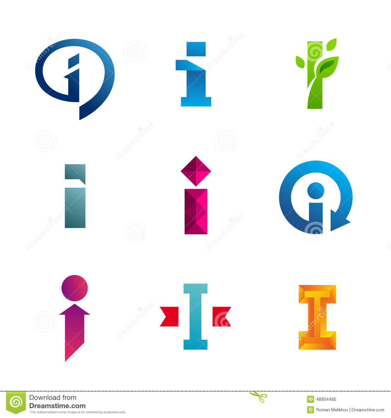 set of letter i logo icons design template elements stock