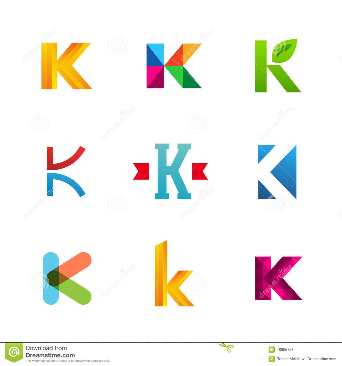 Set Of Letter K Logo Icons Design Template Elements. Collection Stock ...