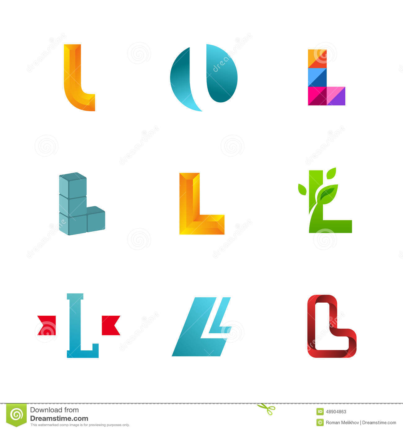 Set of letter l logo icons design template elements collection of