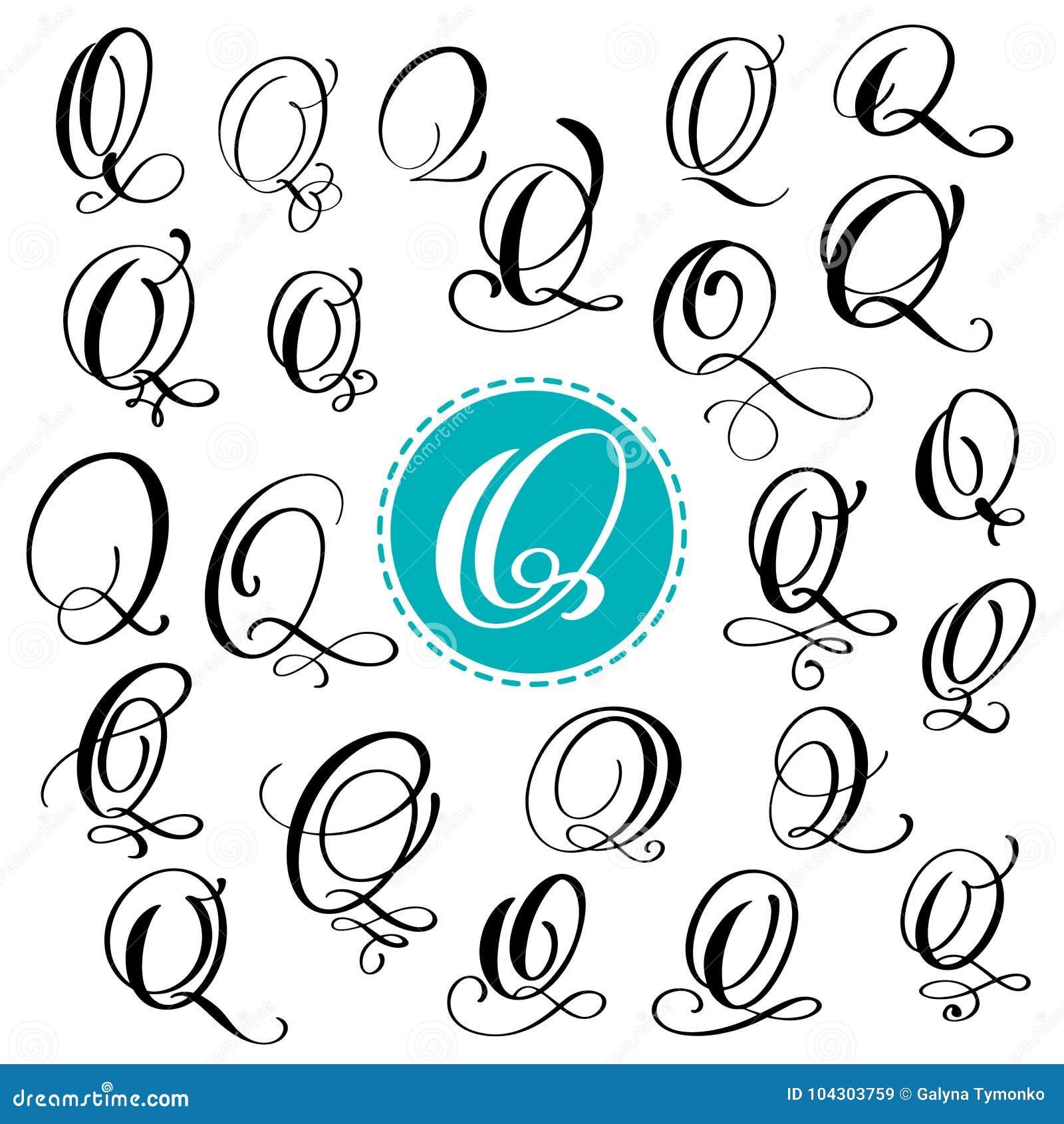 Set Letter Q Hand Drawn Vector Flourish Calligraphy Script Font