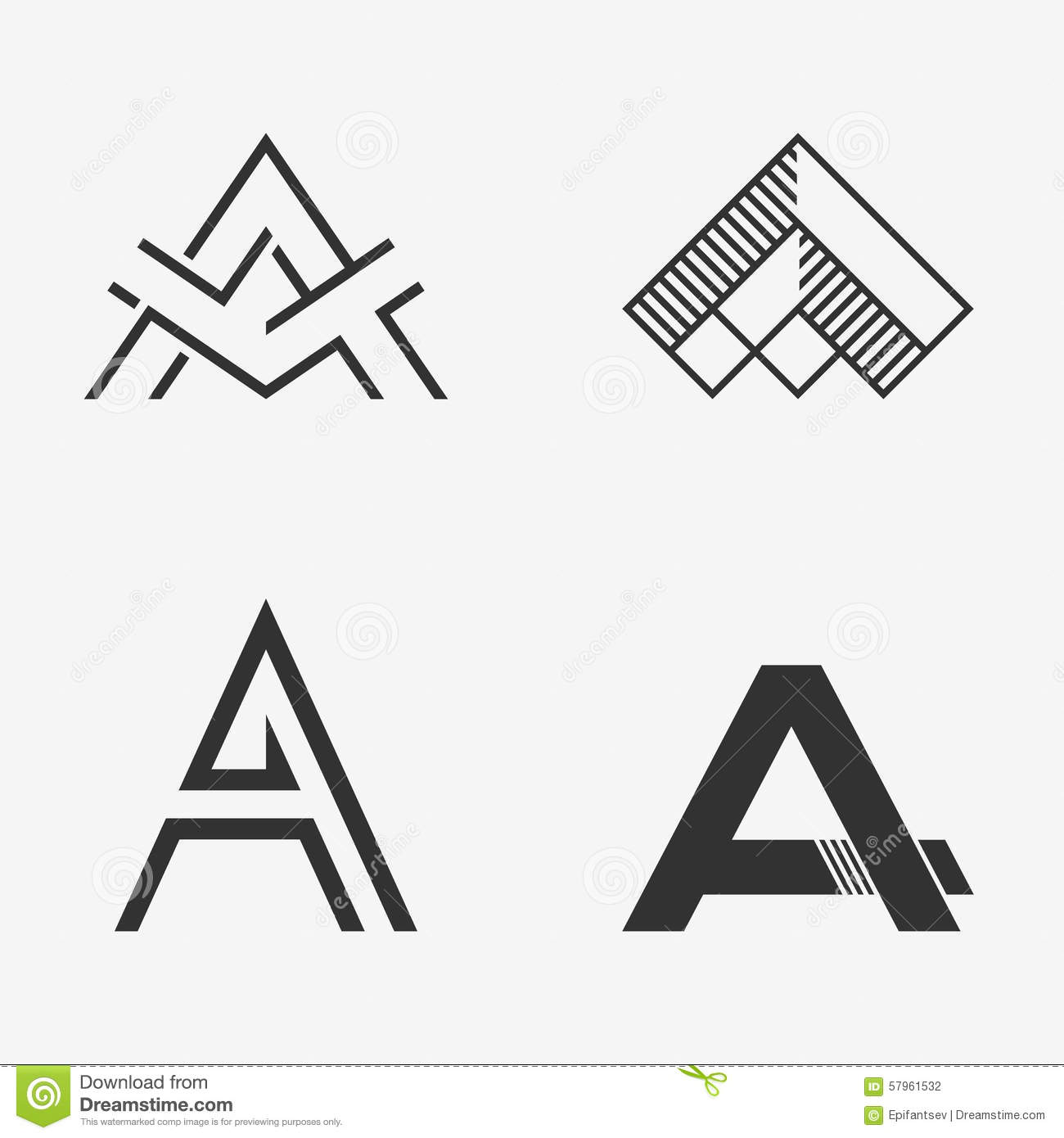 The Set Of Letter A Sign Logo Icon Design Template Elements Stock