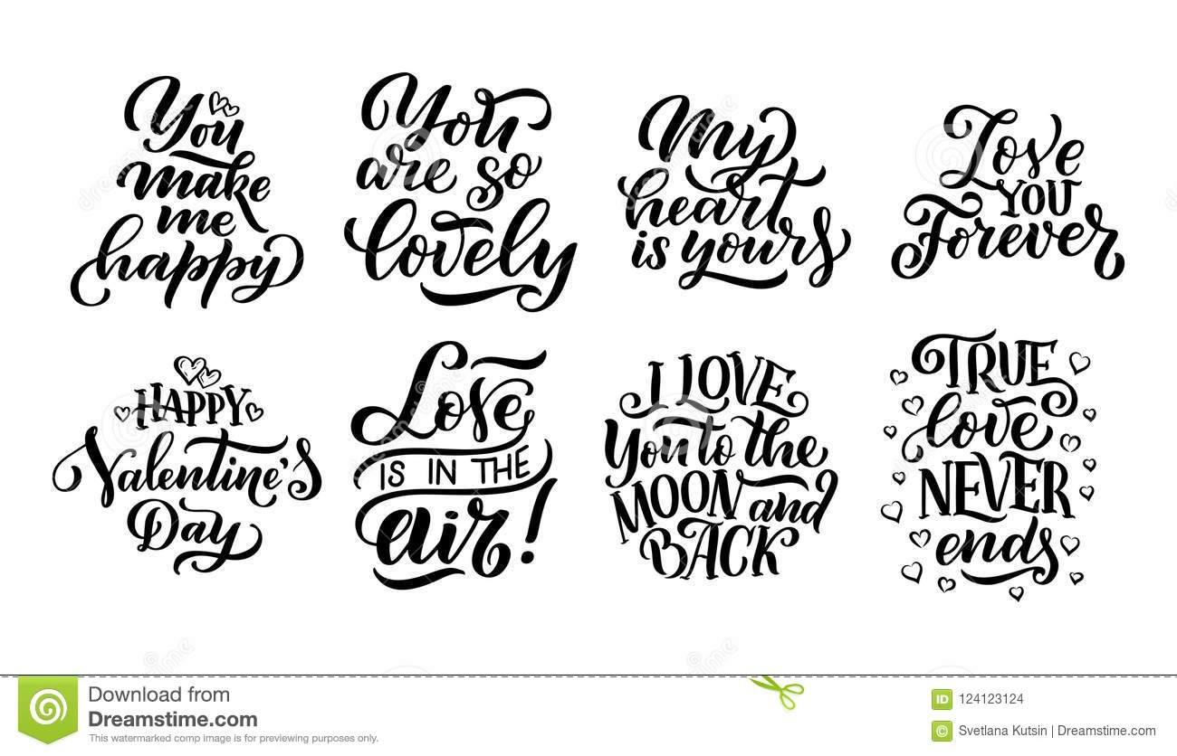 Set Of Lettering Quotes About Love Hand Drawn Typography Posters
