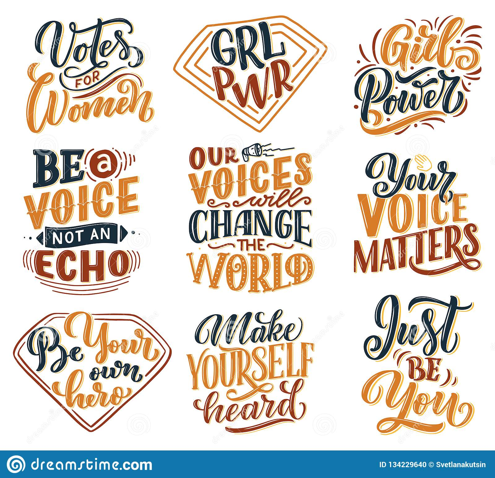 Set Of Lettering Quotes About Woman Voice And Girl Power ...