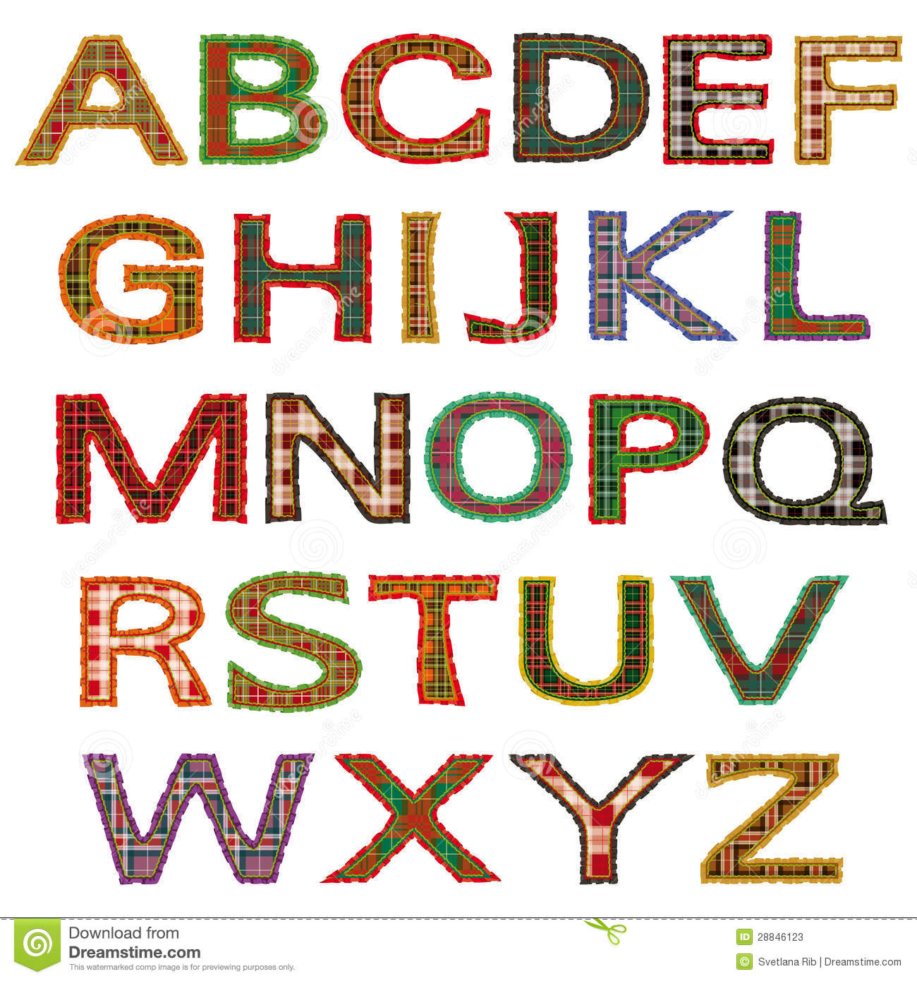 The Set Of Letters, Tartan Stock Photos - Image: 28846123
