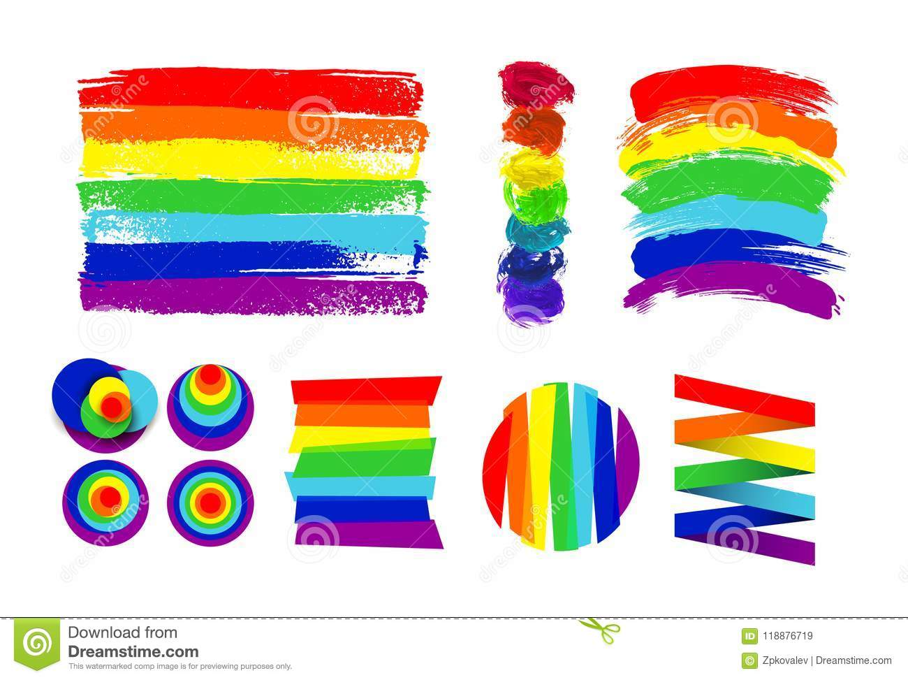 Set of LGBT flag, circle and color spots against homosexual discrimination. Hand drawn. Rainbow. Vector illustration. Isolated on