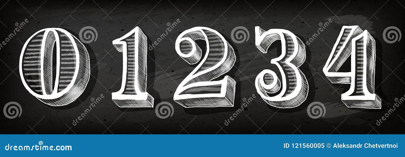Set liczby z zima tematem dla bożych narodzeń Wektorowa ręka rysować liczby Wektor kredy liczby Wektorowe doodle liczby