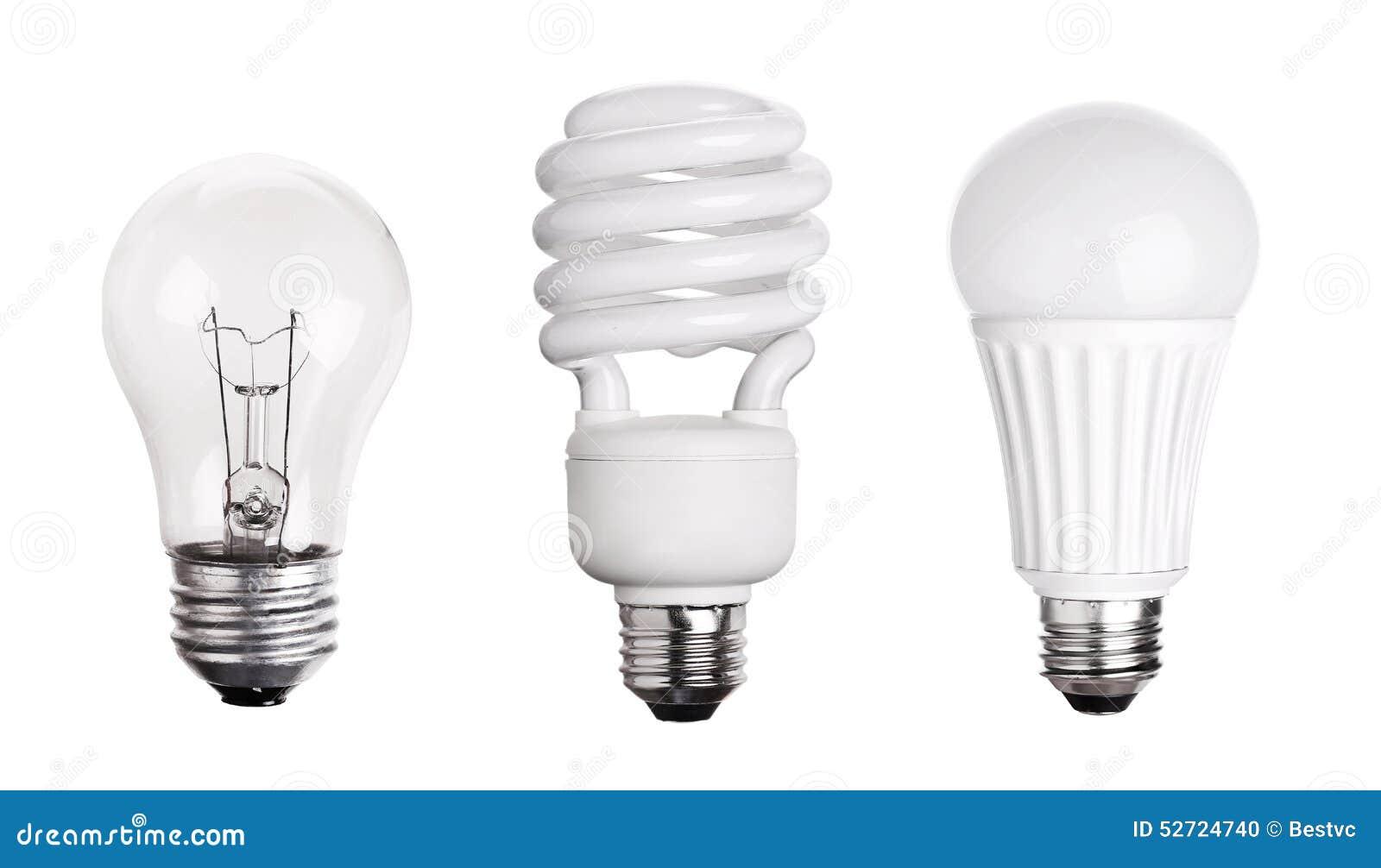 set of light bulb led cfl fluorescent on white stock photo. Black Bedroom Furniture Sets. Home Design Ideas