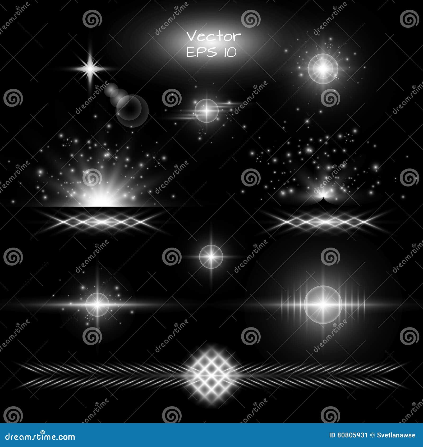 set light effect on a black background stock vector