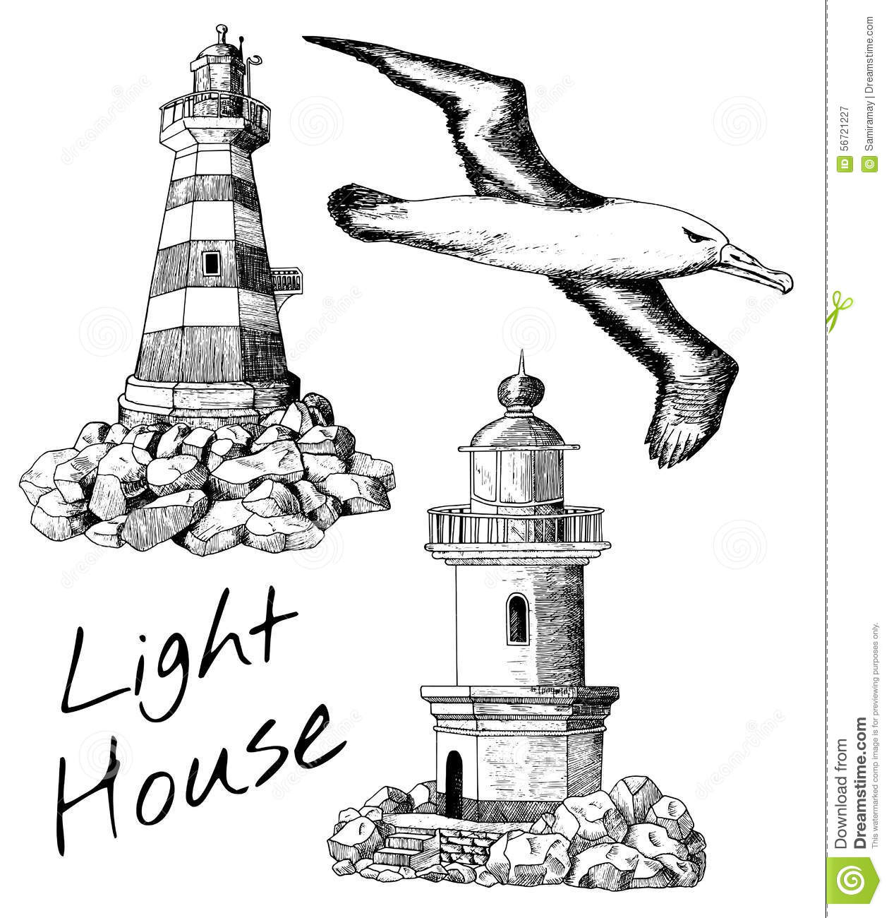 Set with light houses and gull