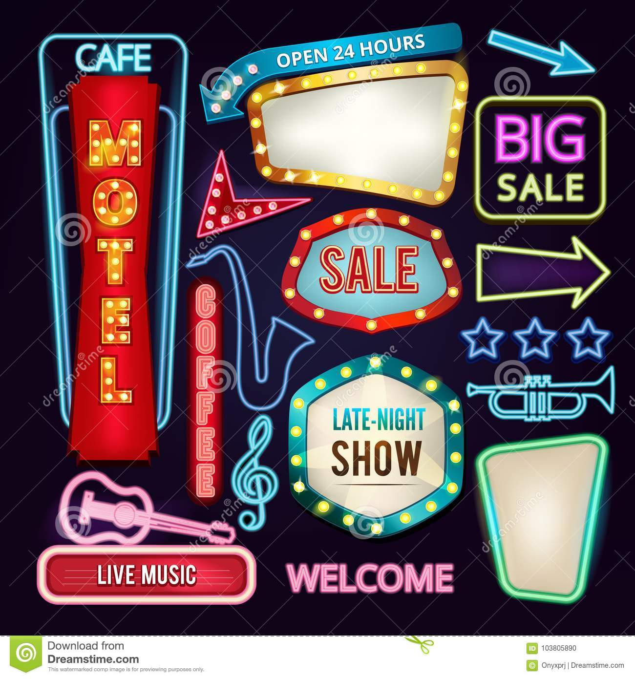 Set of light signs, boards and arrows. Retro neon banners for advertising