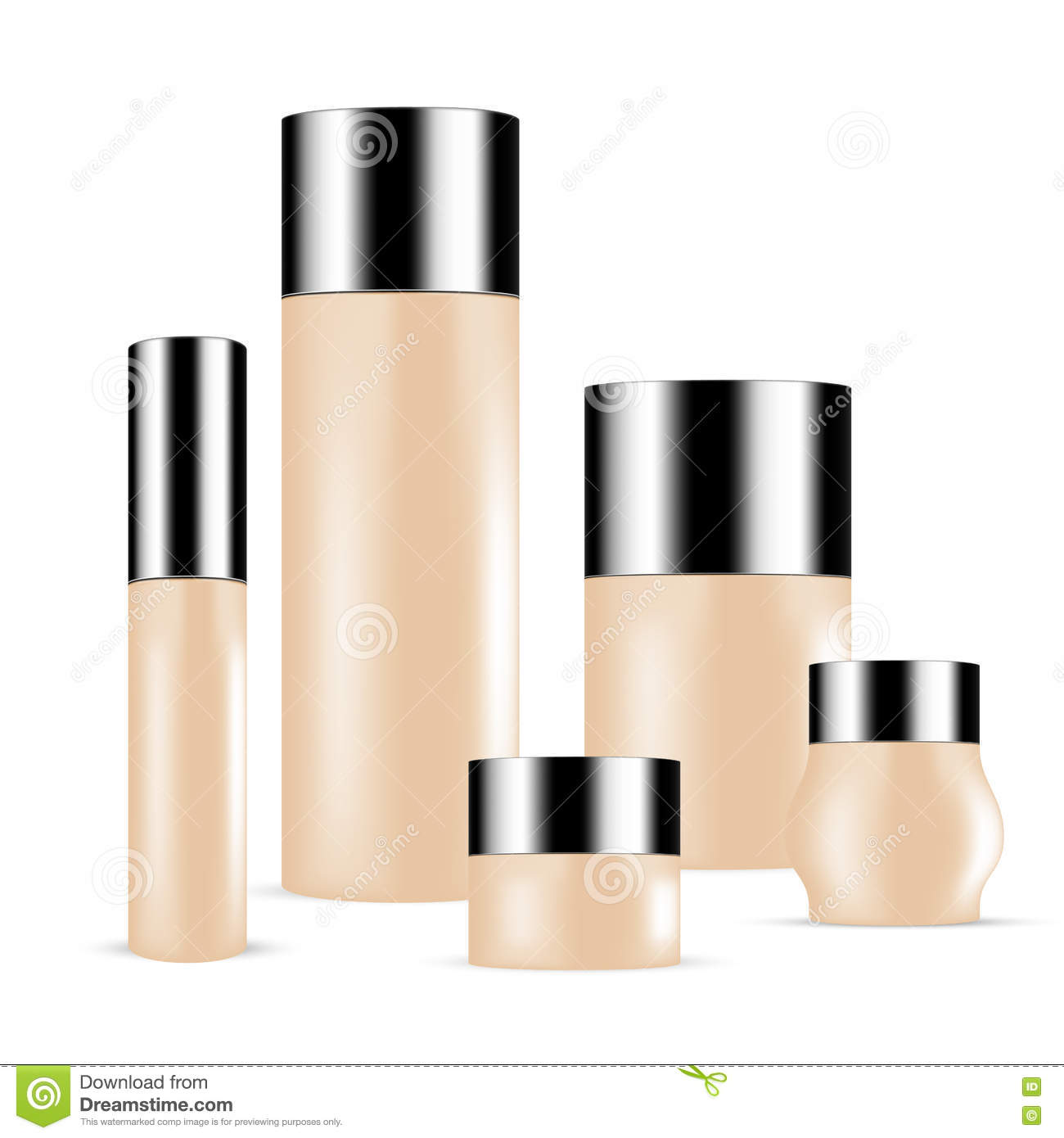Set Of Dark Skin Toned Beauty Products Cosmetics Bottles