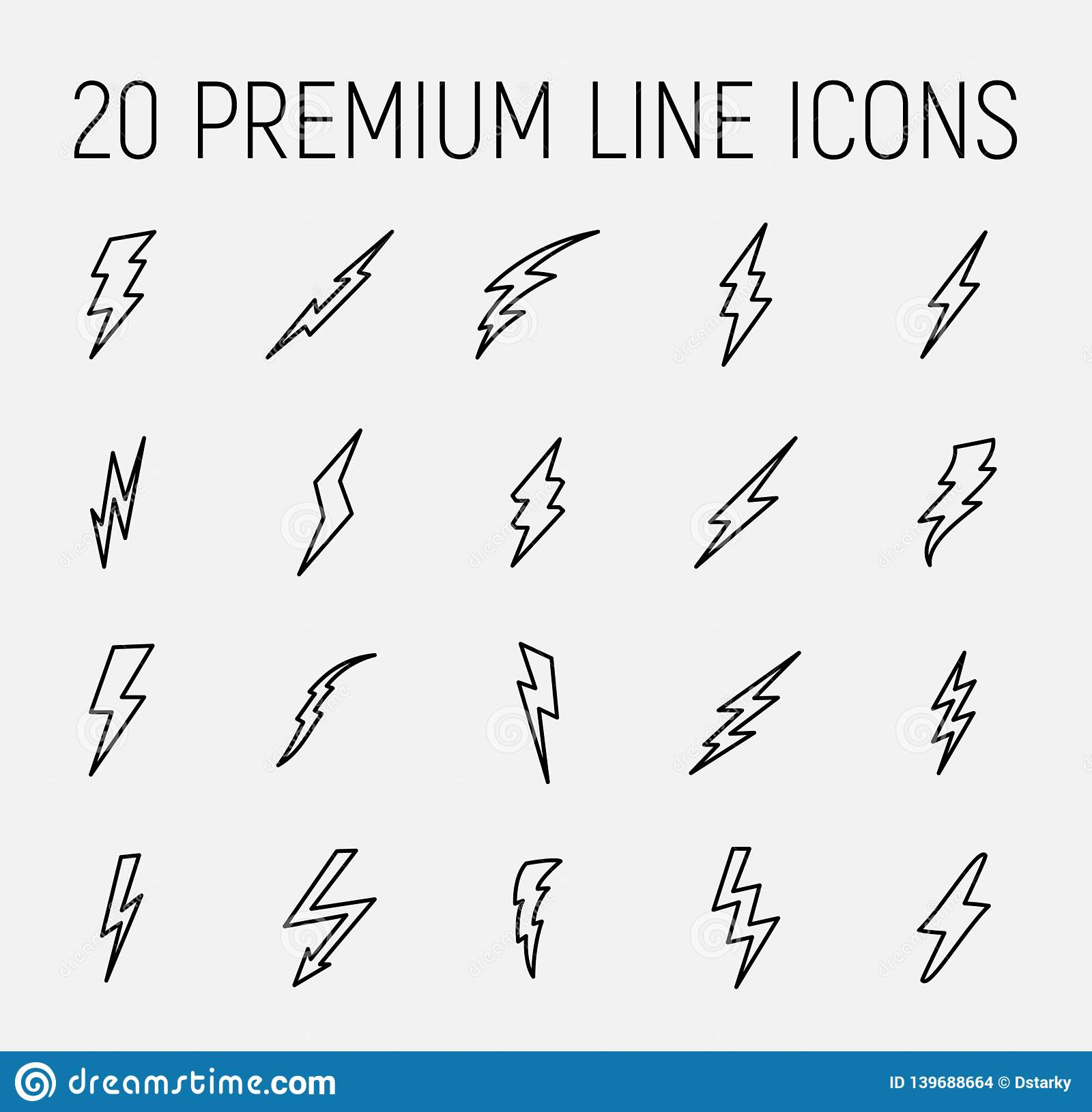 Set Of Lightning Bolt Icons In Modern Thin Line Style. Stock ...