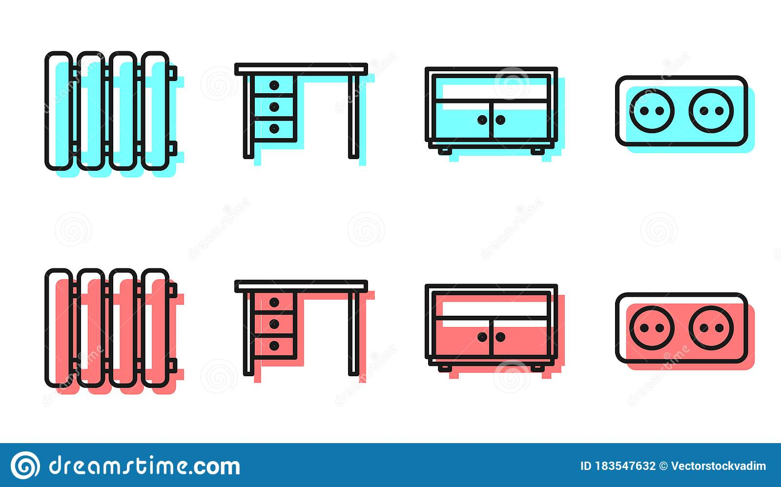 Set Line Chest Of Drawers Heating Radiator Office Desk And Electrical Outlet Icon Stock Vector Illustration Of Office Furniture 183547632
