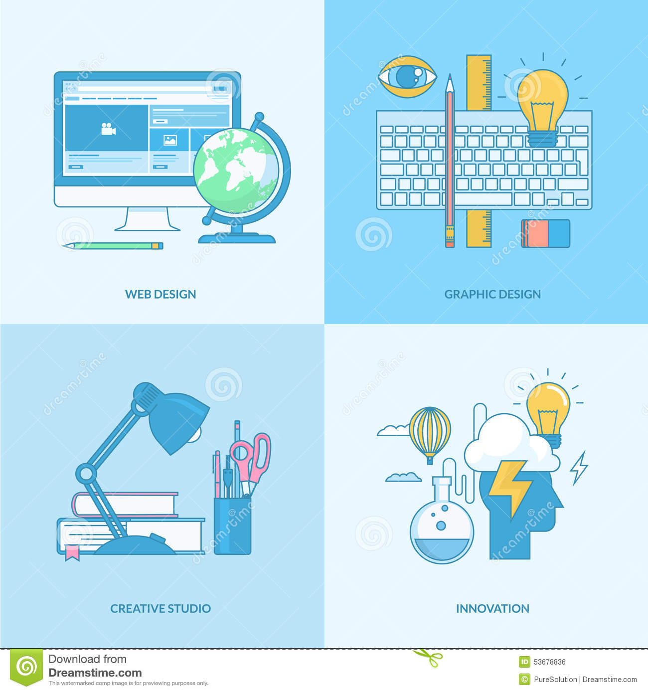 Set of line concept icons for graphic and web design stock for Product design studio