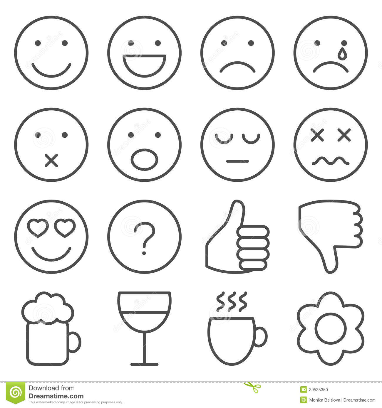 Line Drawing Smiling Face : Set of line emoticons stock vector image