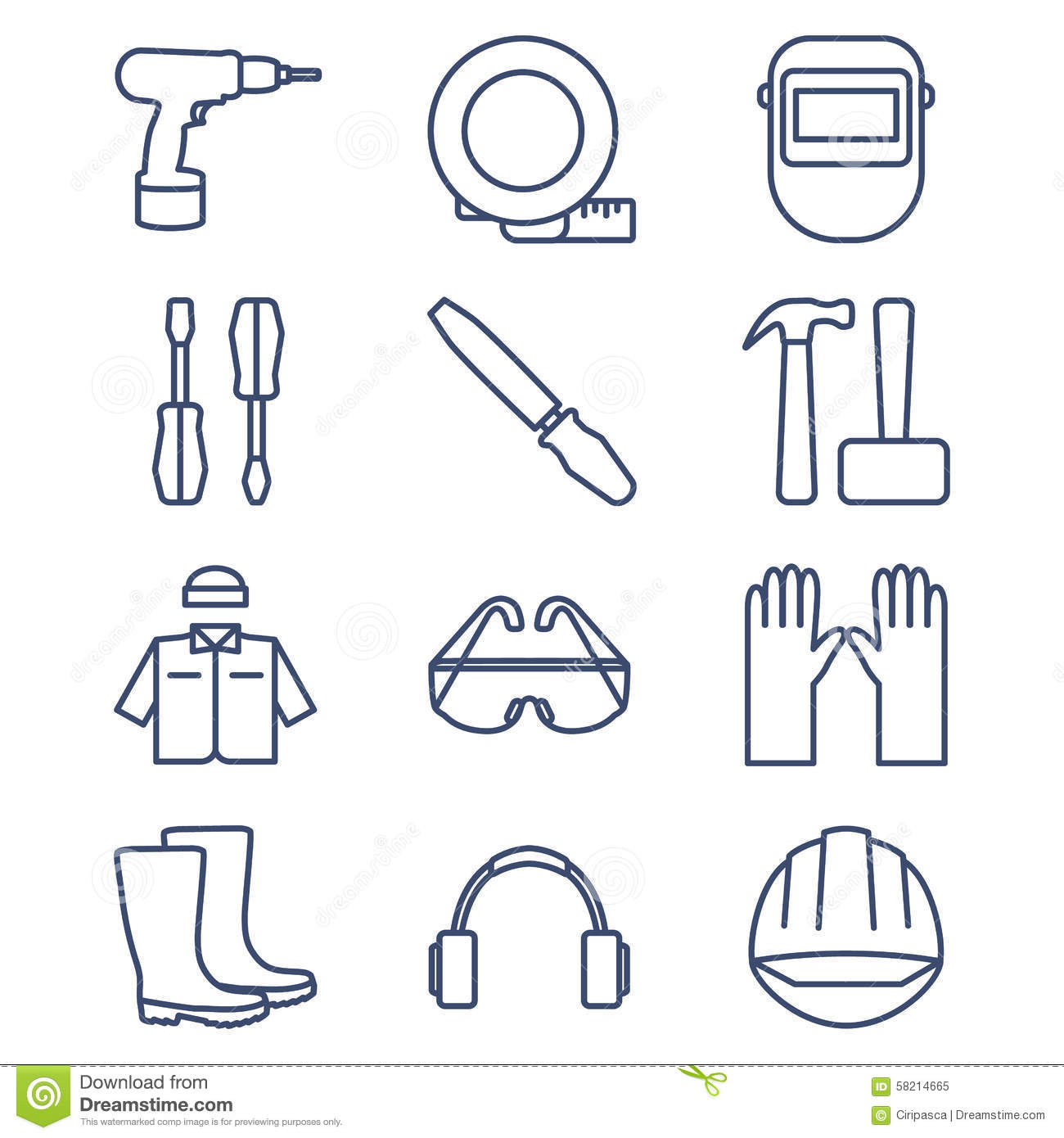Set of line icons for DIY, tools and work clothes