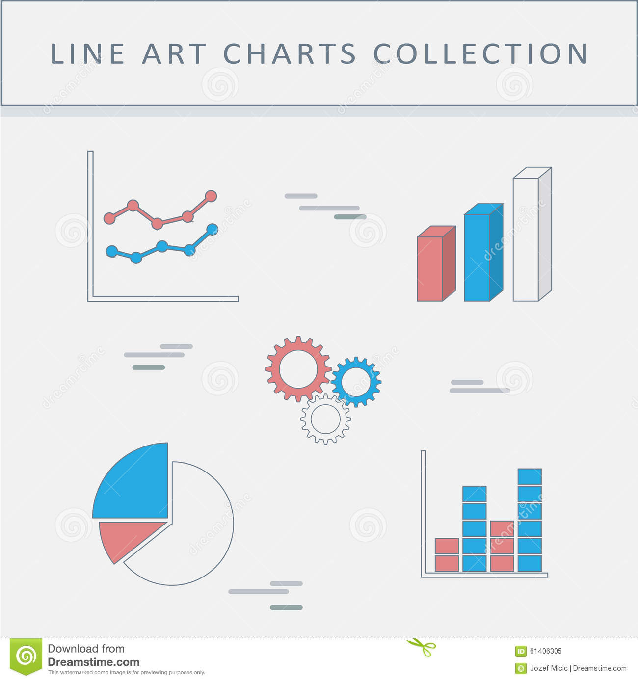 Set Of Line Icons Graphs And Charts Pie Chart Stock Vector